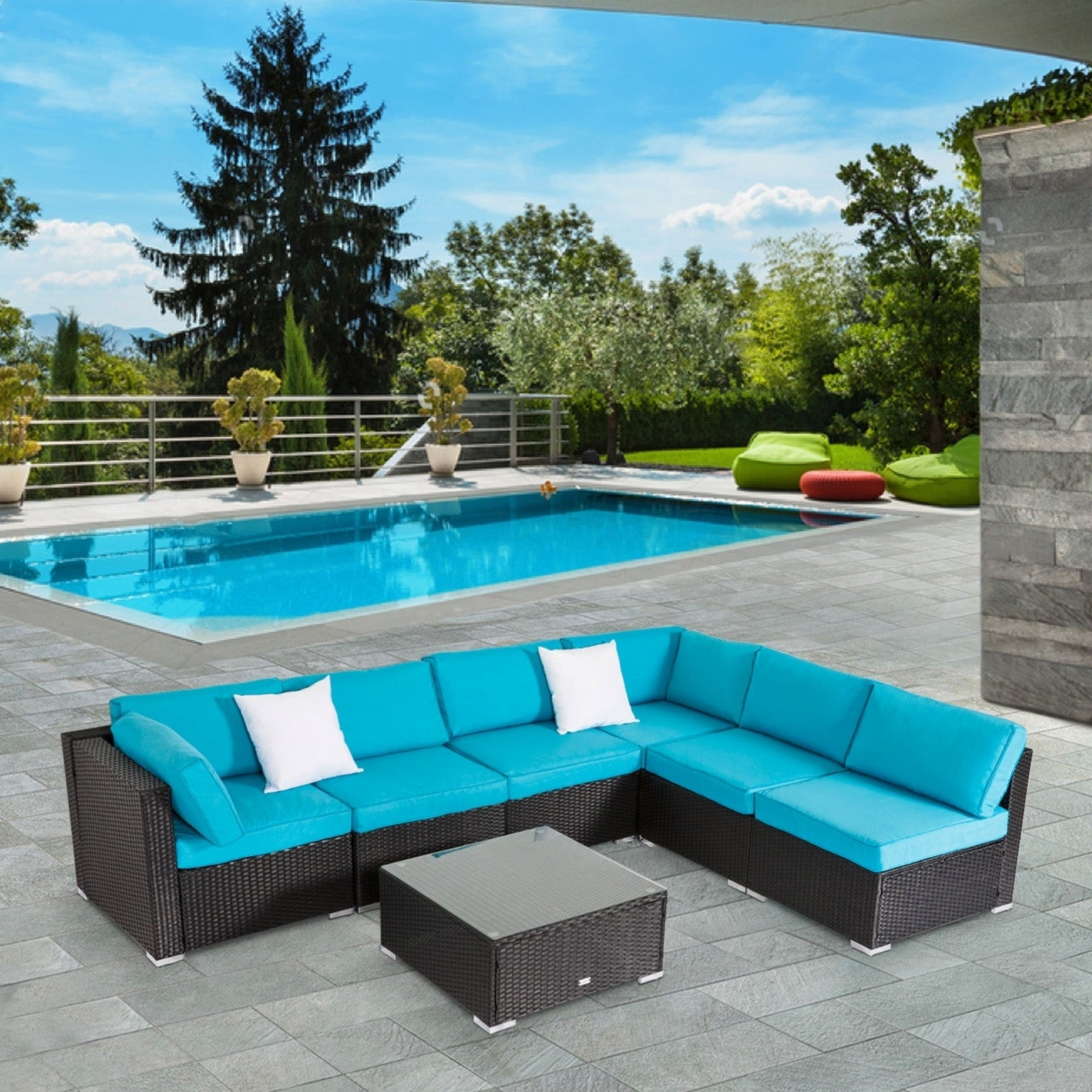 Kinbor 7 Piece Patio Furniture Set All Weather Outdoor Furniture Sectional  Sofa W/ Cushions Throughout Newest Patio Sofas With Cushions (View 7 of 20)