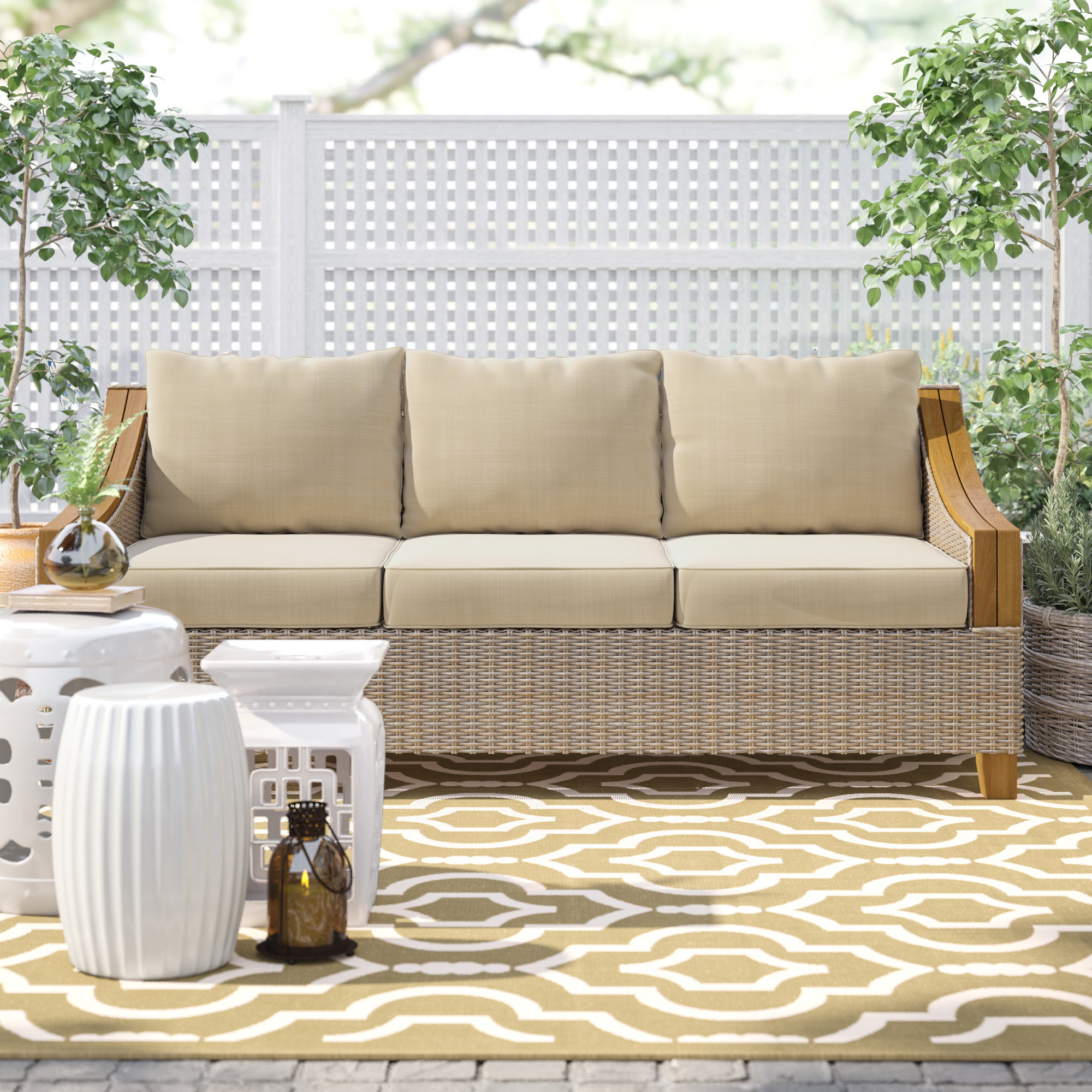 Kincaid Teak Patio Sofa With Sunbrella Cushions Inside Well Known Montford Teak Patio Sofas With Cushions (View 8 of 20)