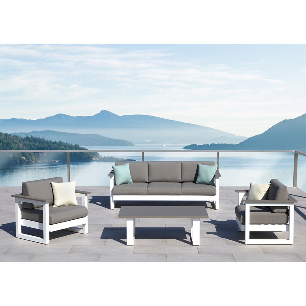 Kunz Loveseats With Cushions Intended For 2019 Lucas 4 Piece Conversation Set With Cushions (Gallery 20 of 20)