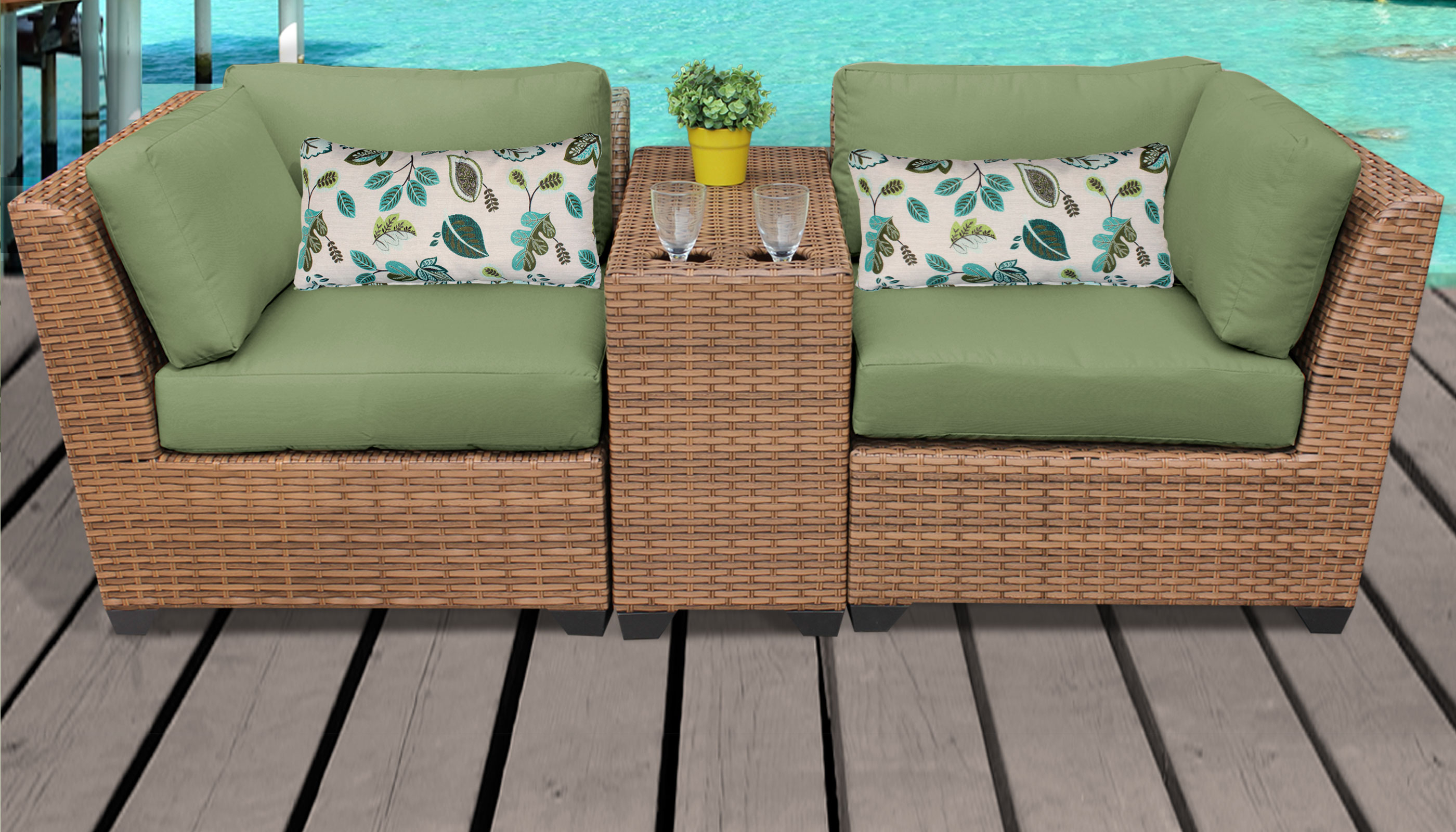 Laguna 3 Piece Outdoor Wicker Patio Furniture Set 03B Throughout Preferred Laguna Outdoor Sofas With Cushions (View 3 of 20)