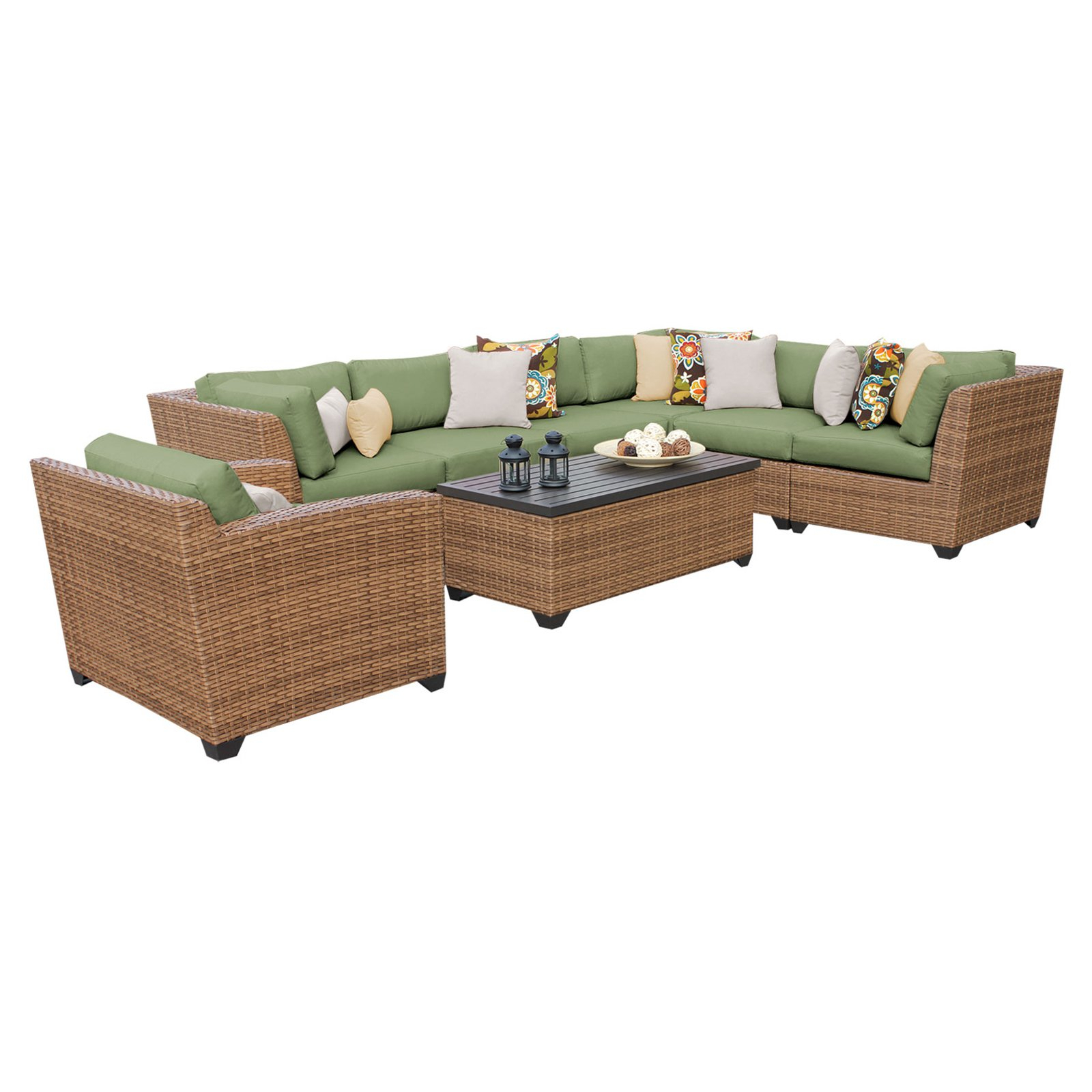 Laguna Outdoor Sofas With Cushions Intended For Most Recent Outdoor Tk Classics Laguna Wicker 8 Piece Patio Conversation (View 5 of 20)