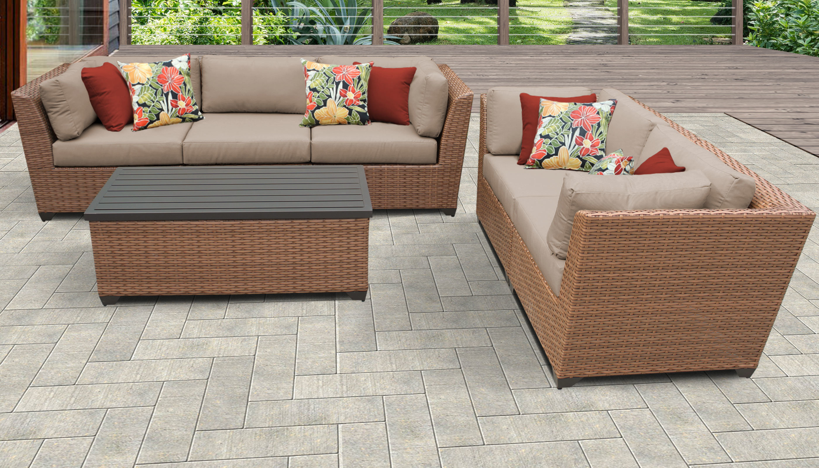 Laguna Outdoor Sofas With Cushions With Fashionable Laguna 6 Piece Outdoor Sofa Seating Group With Cushions (View 7 of 20)