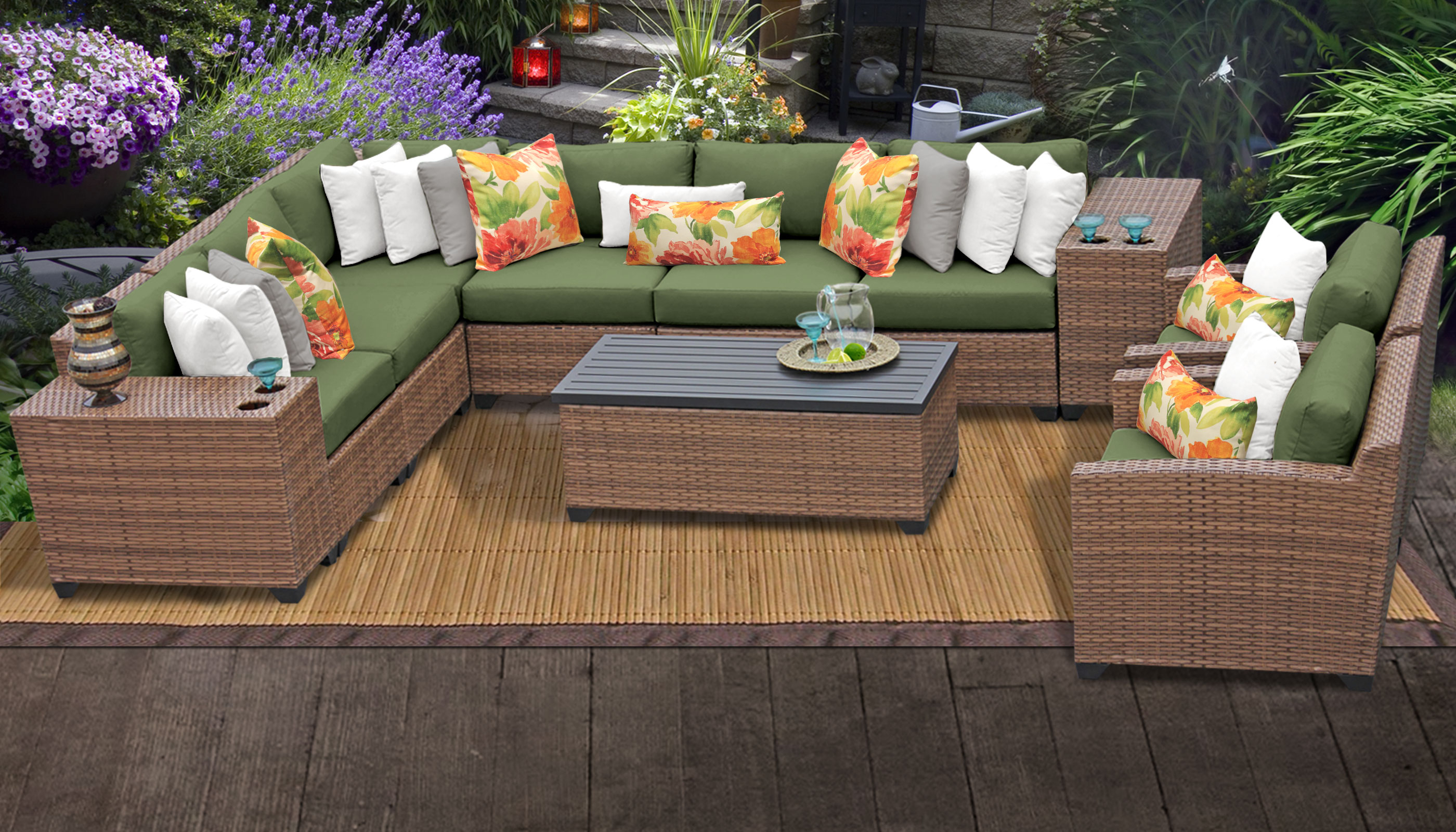 Laguna Outdoor Sofas With Cushions Within Favorite Laguna 11 Piece Outdoor Wicker Patio Furniture Set 11D (View 10 of 20)