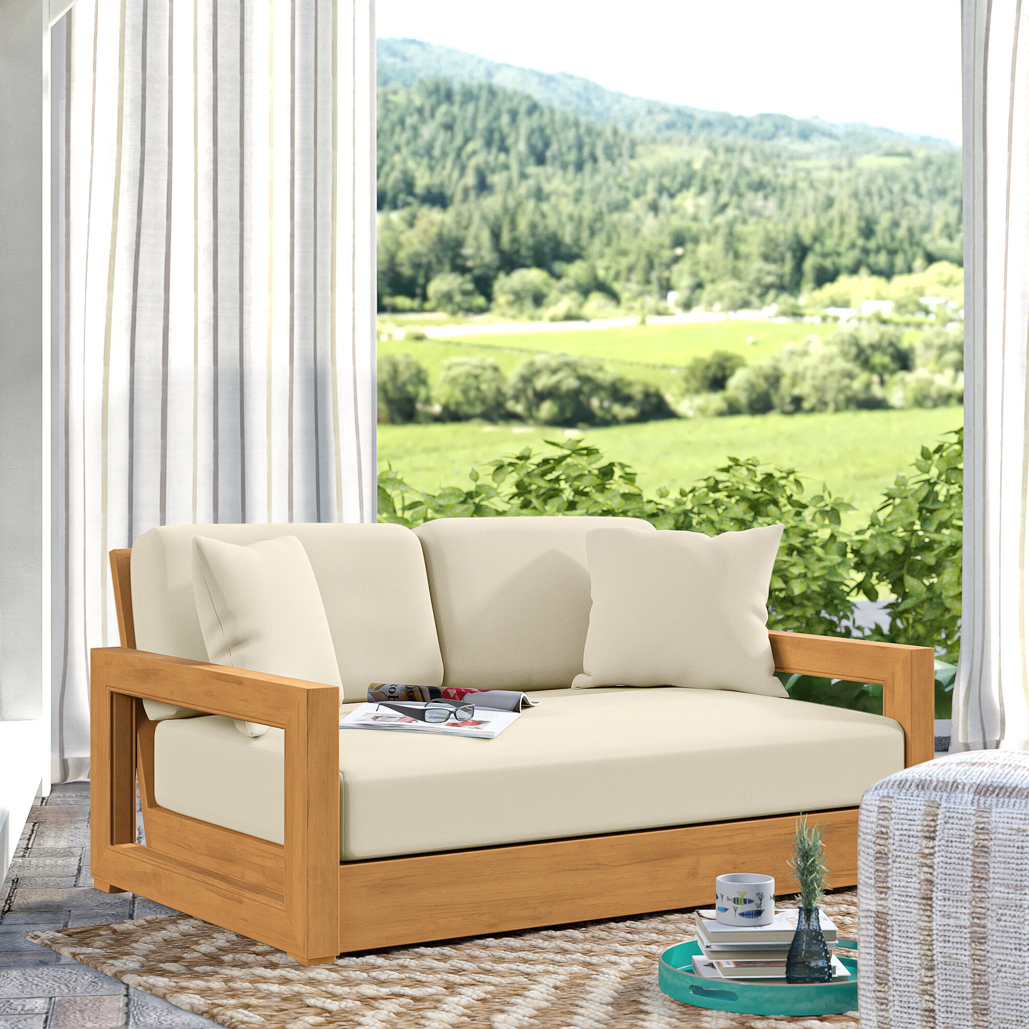 Lakeland Teak Loveseat With Cushions With Regard To Latest Ellanti Teak Patio Daybeds With Cushions (View 10 of 20)