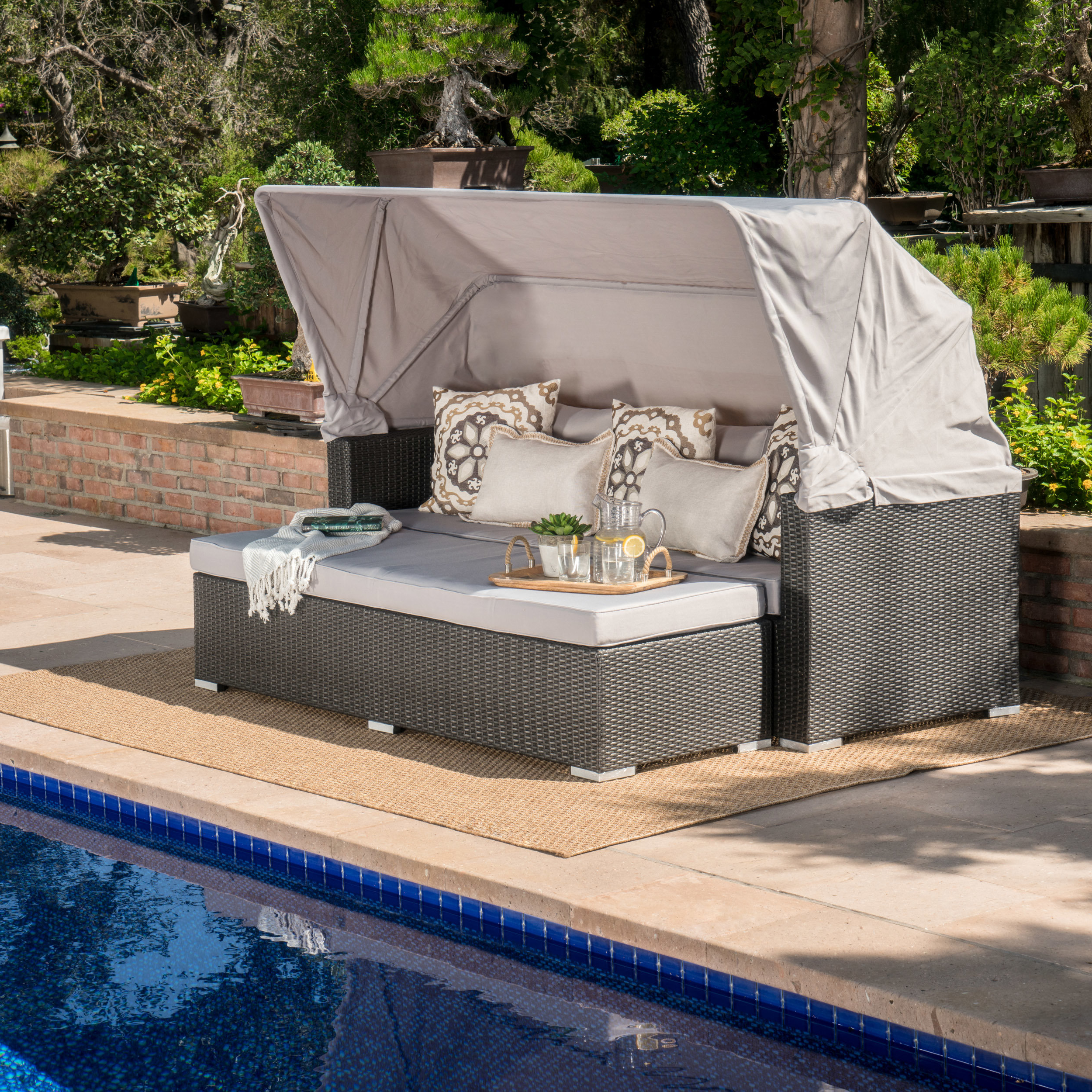 Lammers Outdoor Wicker Daybed With Cushions Regarding Well Known Hatley Patio Daybeds With Cushions (View 12 of 20)