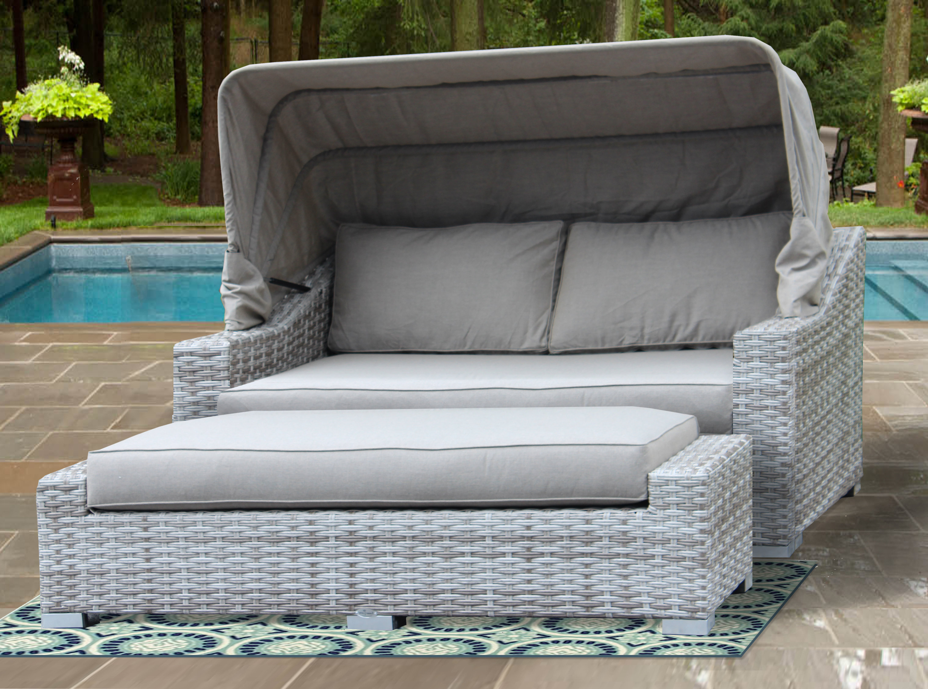 Lammers Outdoor Wicker Daybeds With Cushions Within Most Up To Date Luka Patio Daybed With Sunbrella Cushions (View 17 of 20)