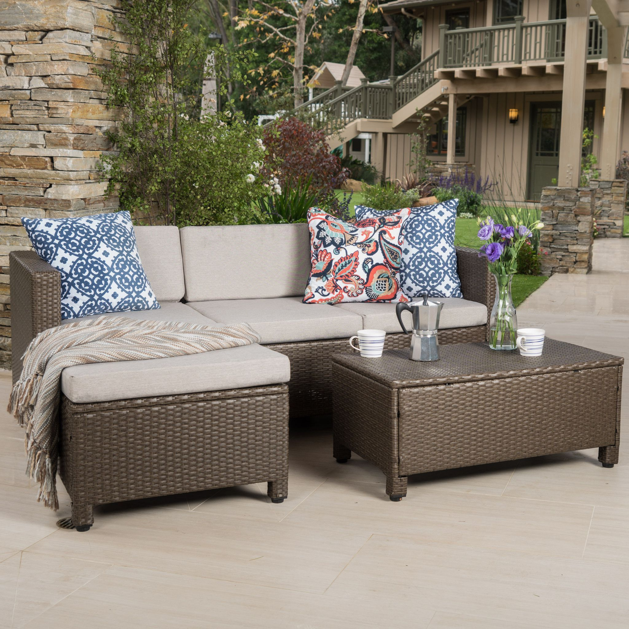 Larsen Patio Sectionals With Cushions In Well Known Budva Outdoor L Shape Brown Wicker Sofa W/ Cushions In (View 19 of 20)
