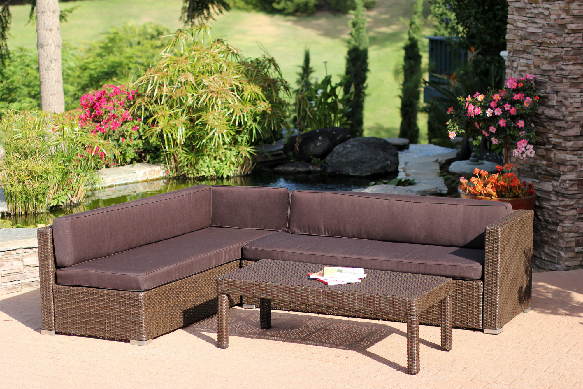 Larsen Patio Sectionals With Cushions Intended For Trendy Totnes 3 Piece Sectional Set With Cushions (Gallery 15 of 20)