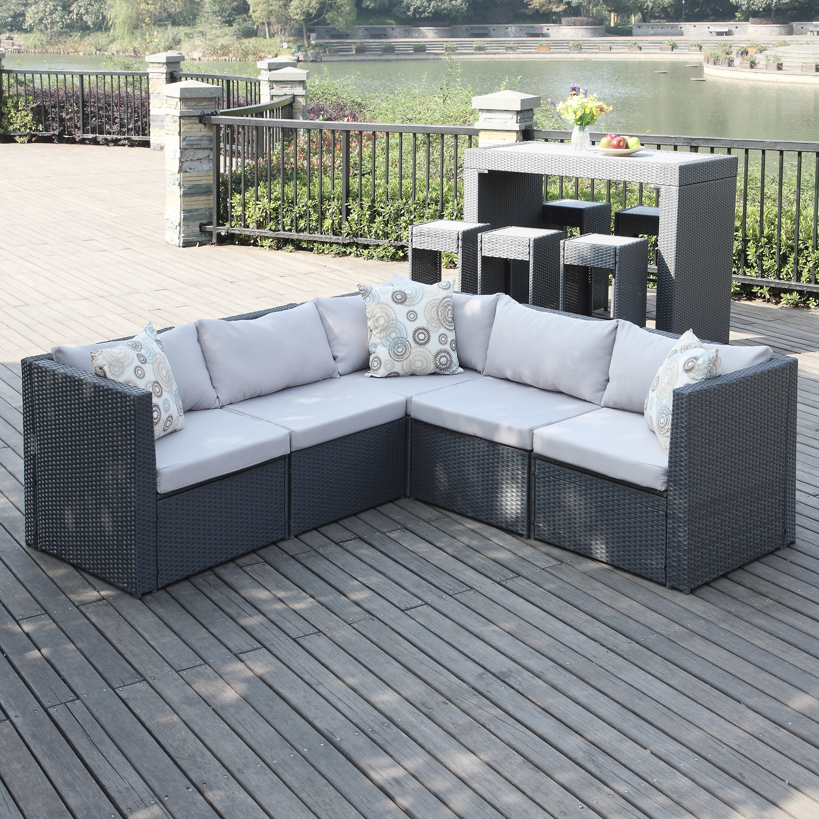 Larsen Patio Sectionals With Cushions Throughout 2019 Larsen Patio Sectional With Cushions (View 3 of 20)