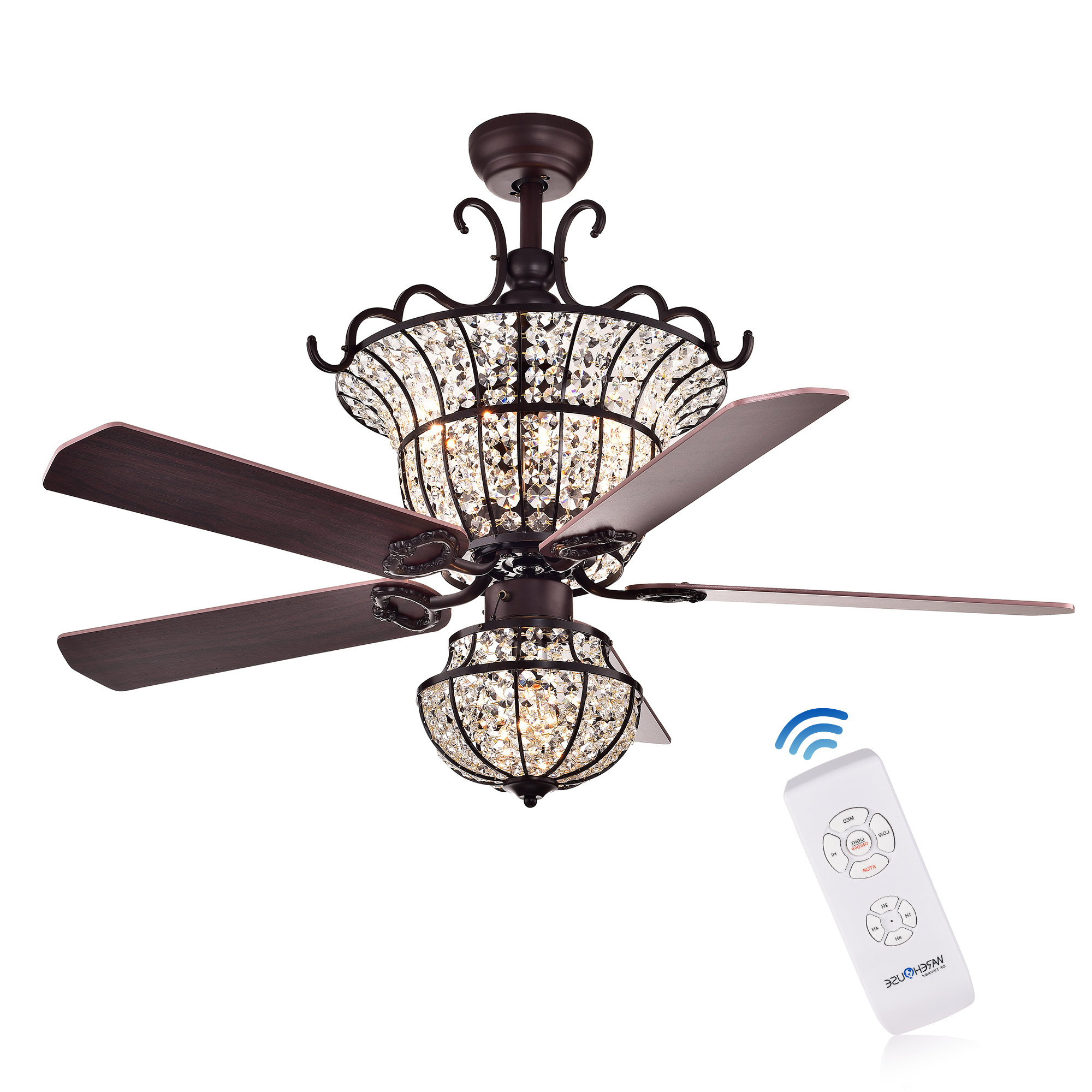 """Latest 52"""" Drumcullen 5 Blade Ceiling Fan With Remote Throughout Glenpool 5 Blade Ceiling Fans (Gallery 11 of 20)"""