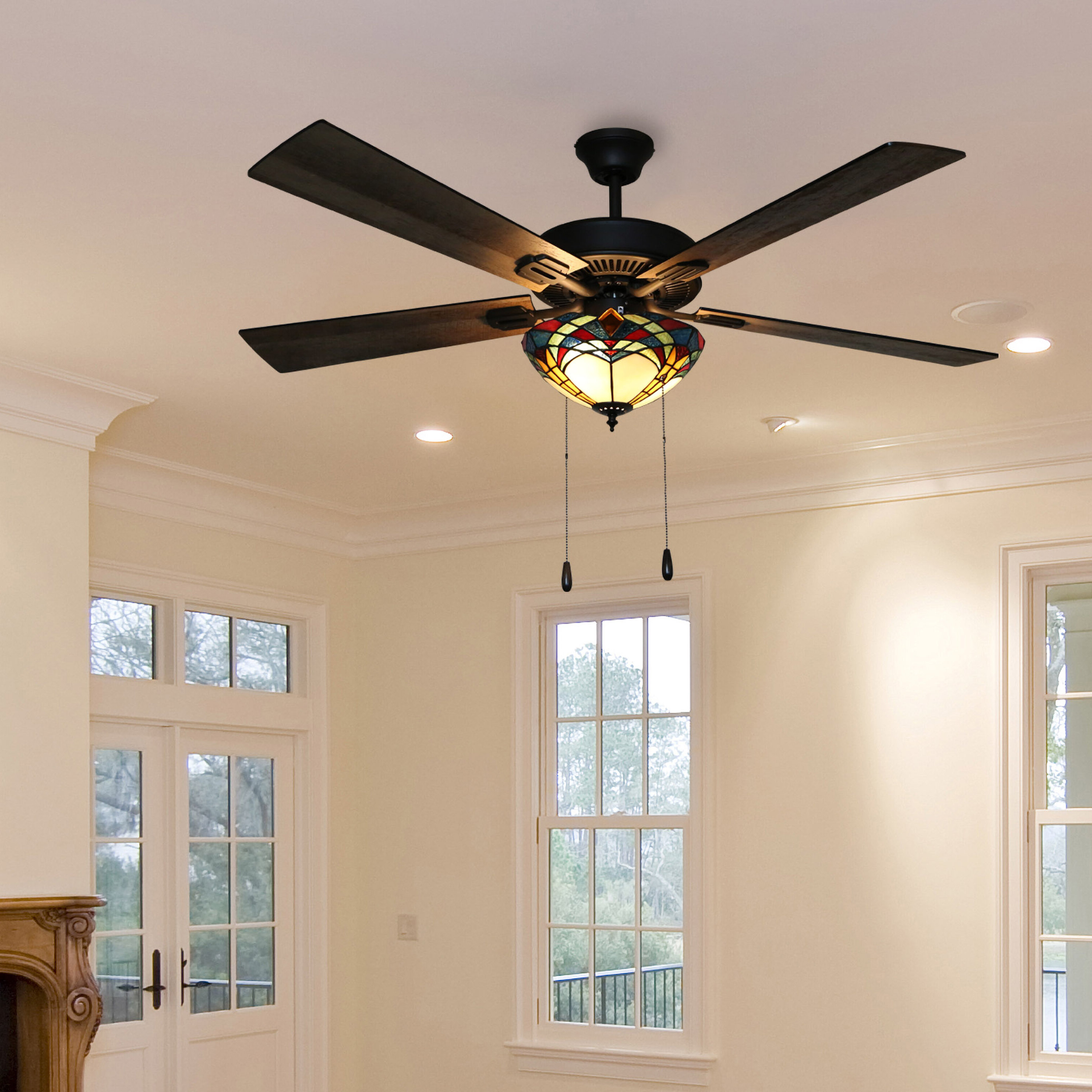 "Latest 52"" Lohmann Stained Glass 5 Blade Ceiling Fan With Remote, Light Kit Included Within Quebec 5 Blade Ceiling Fans (Gallery 7 of 20)"