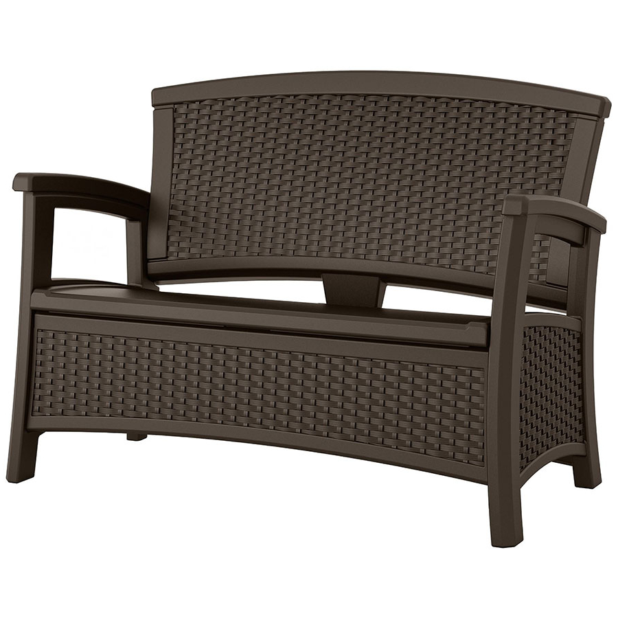 Latest Bence Plastic Outdoor Garden Benches Inside Suncast Wicker Effect Love Seat With Storage – Java (Gallery 20 of 25)