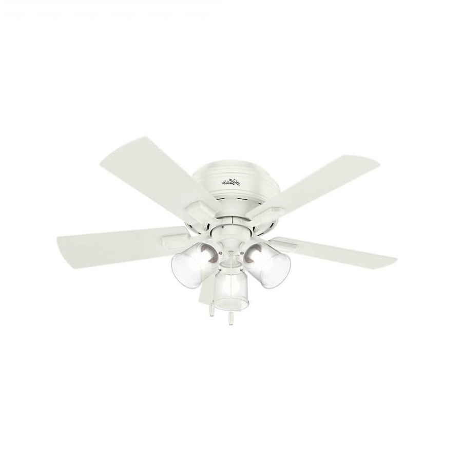 Latest Crestfield 5 Blade Led Ceiling Fans Pertaining To Hunter 52152 Crestfield 3 Led Light 42 Inch Ceiling Fan In Fresh White With  5 Drifted Oak Blade And Clear Seeded Glass (View 14 of 20)