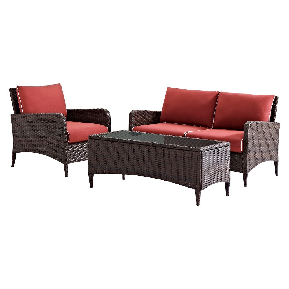 Latest Crosley Kiawah 3 Piece Outdoor Wicker Seating Set With Inside Greta Living Patio Sectionals With Cushions (View 18 of 20)