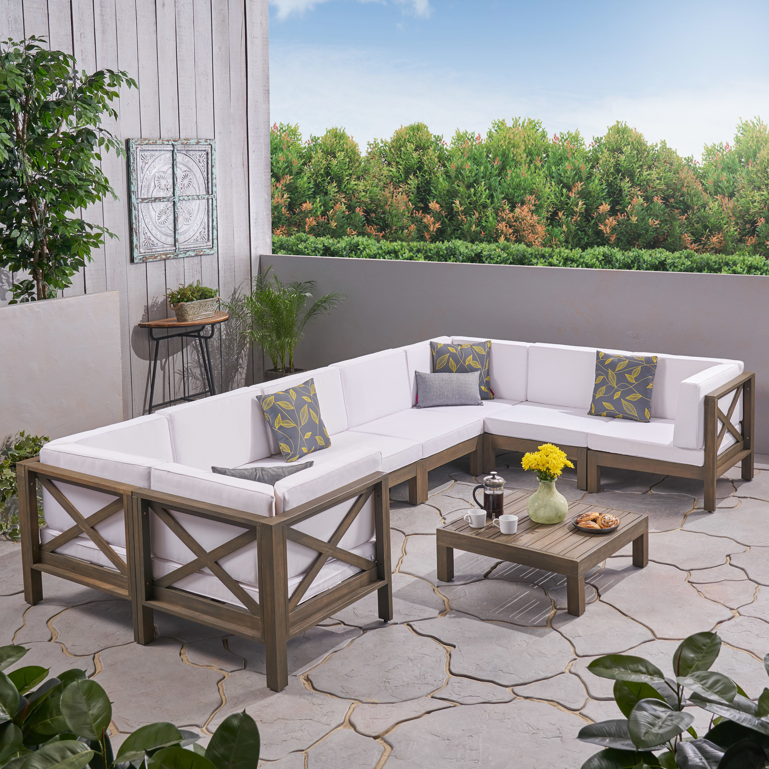 Latest Ellison 9 Piece Sectional Seating Group With Cushions For Ellison Patio Sectionals With Cushions (View 13 of 20)