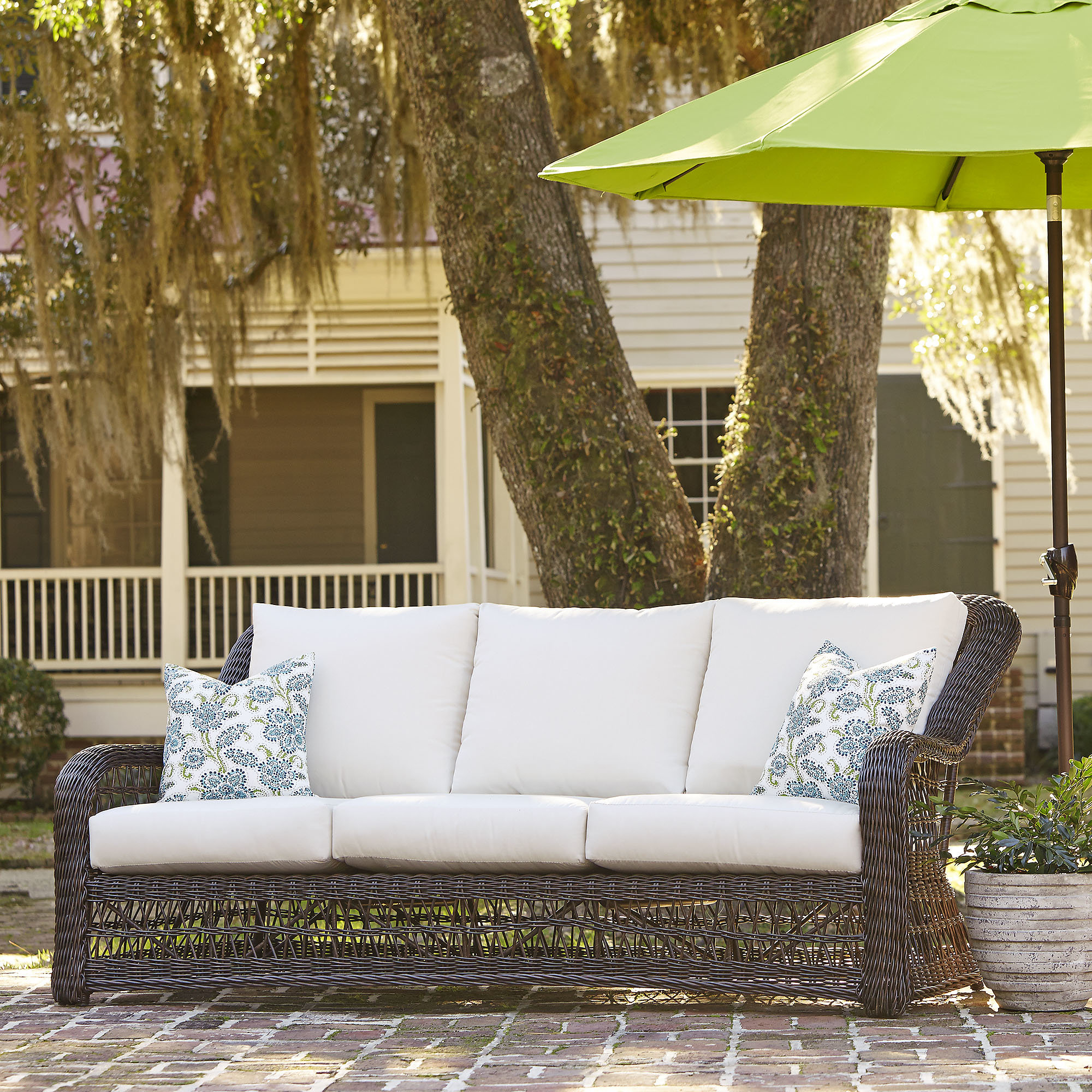 Latest Elyse Patio Sofa With Sunbrella Cushions For Brennon Cube Patio Daybeds With Cushions (View 23 of 25)