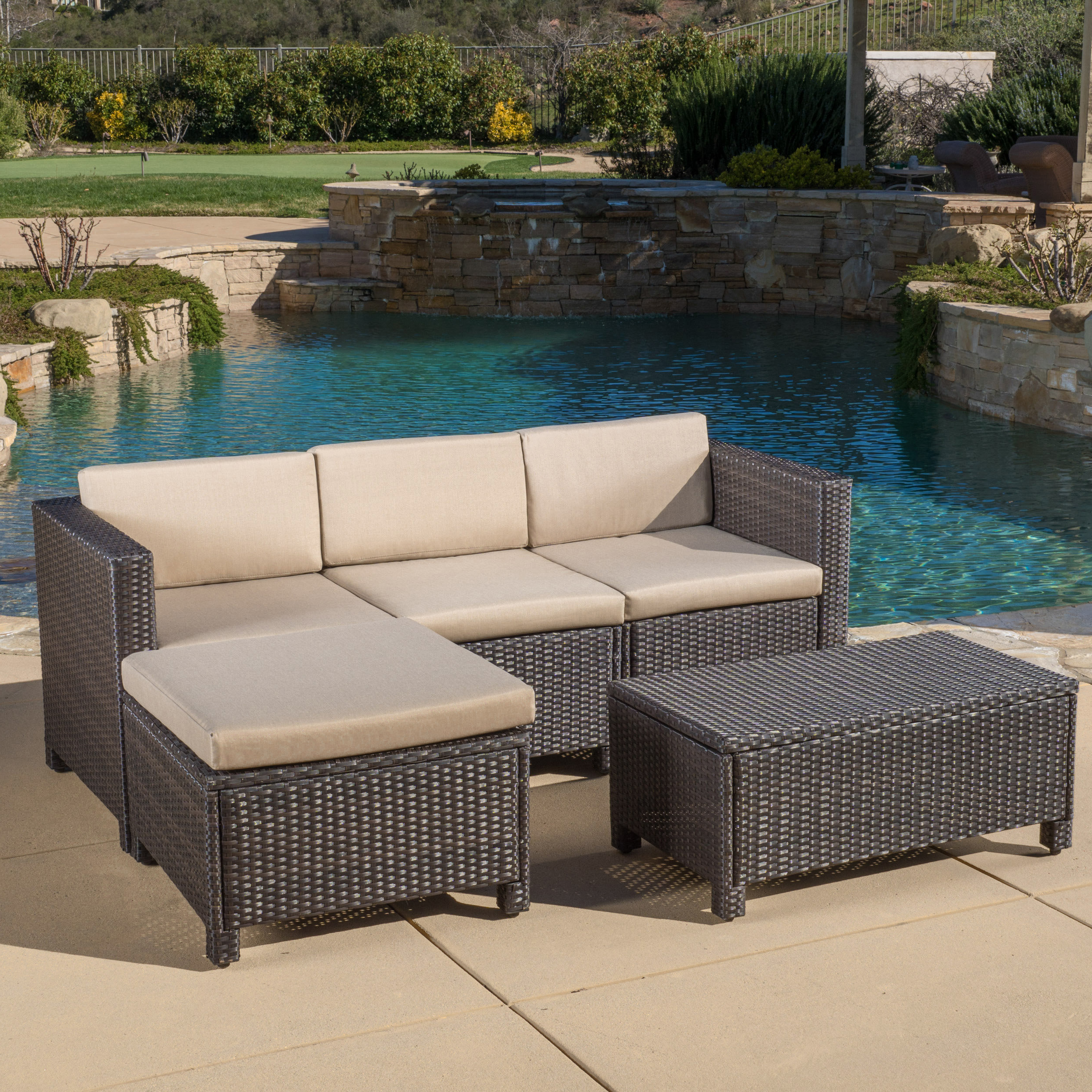 Latest Furst 5 Piece Sectional Seating Group With Cushions Regarding Furst Patio Sofas With Cushion (Gallery 17 of 20)