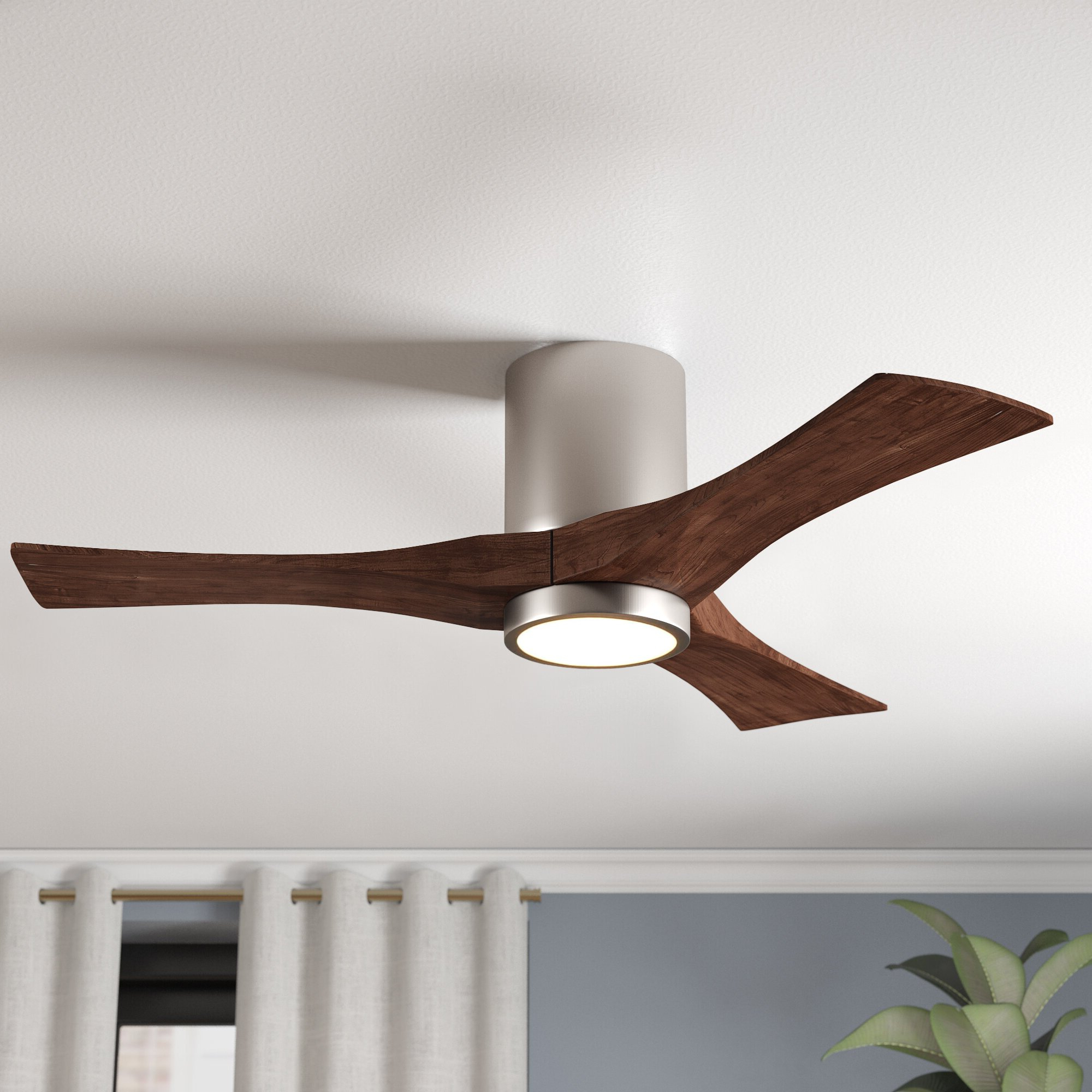 "Latest Hedin 3 Blade Hugger Ceiling Fans Regarding 52"" Rosalind 3 Blade Hugger Ceiling Fan With Wall Remote And Light Kit (View 7 of 20)"