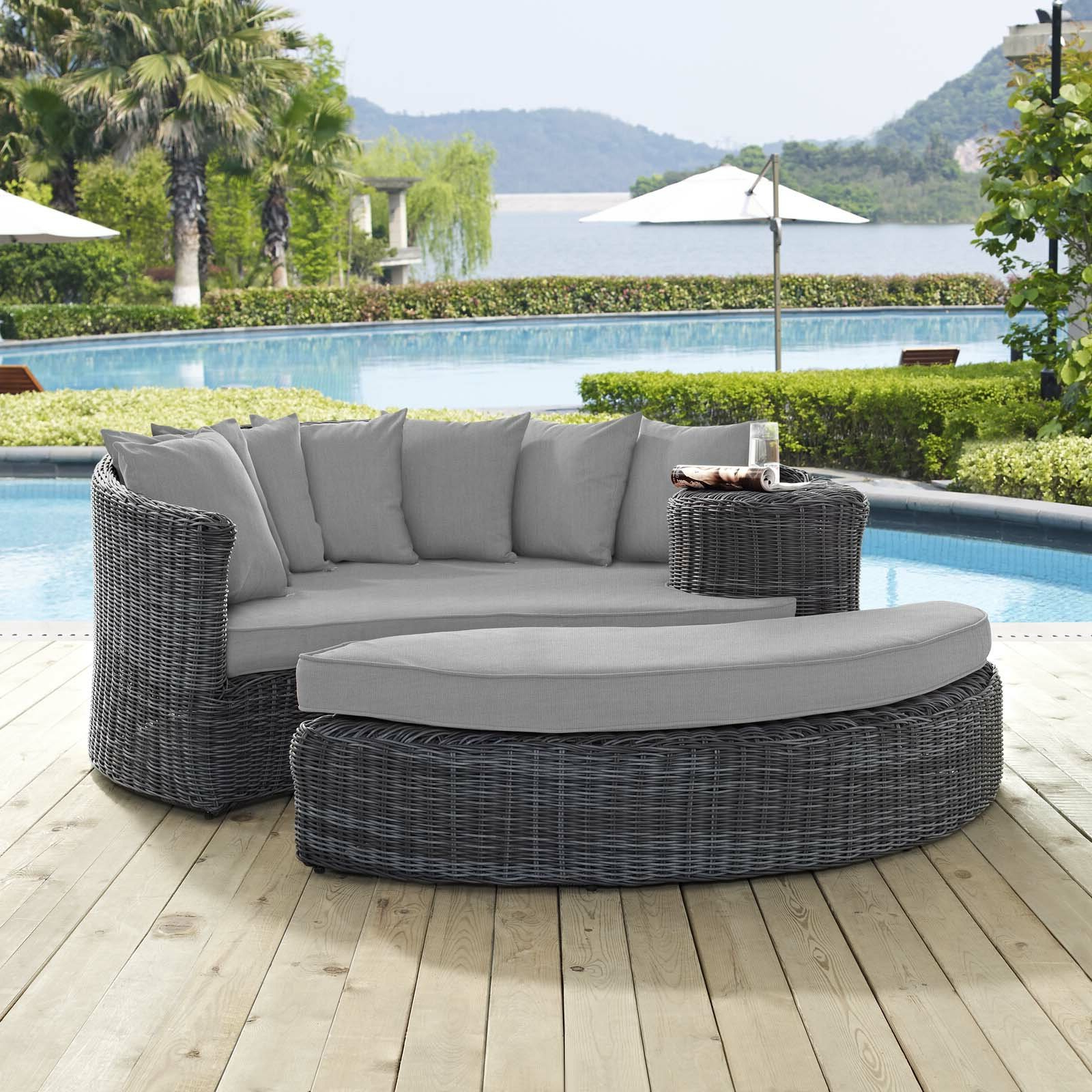 Latest Keiran Patio Daybed With Cushions In Lavina Outdoor Patio Daybeds With Cushions (View 13 of 20)
