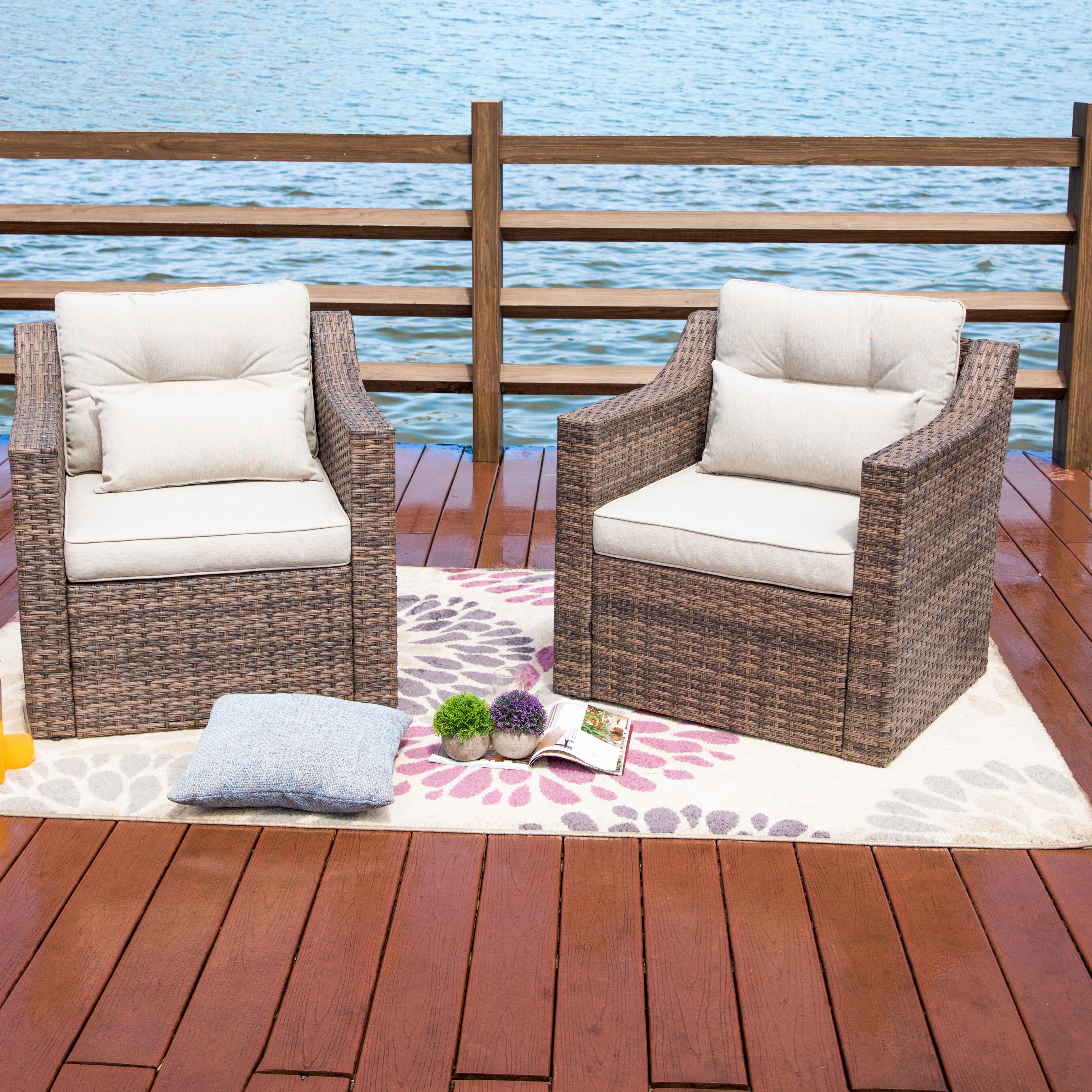 Latest Kunz Outdoor Wicker Patio Chair With Cushions In Kunz Loveseats With Cushions (View 11 of 20)