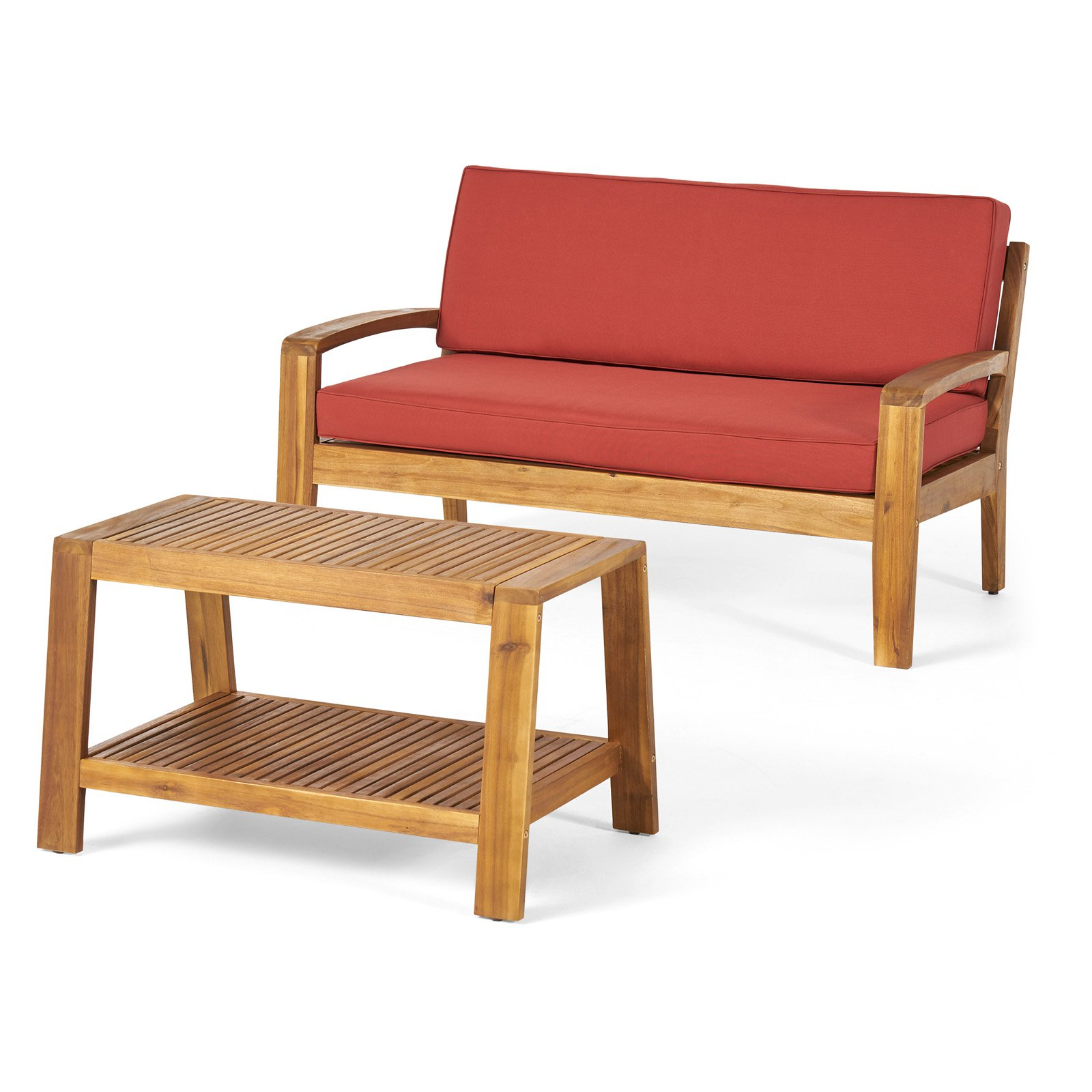 Latest Outdoor Best Selling Home Grenada Wood 2 Piece Loveseat And Within Calila Teak Loveseats With Cushion (View 6 of 20)