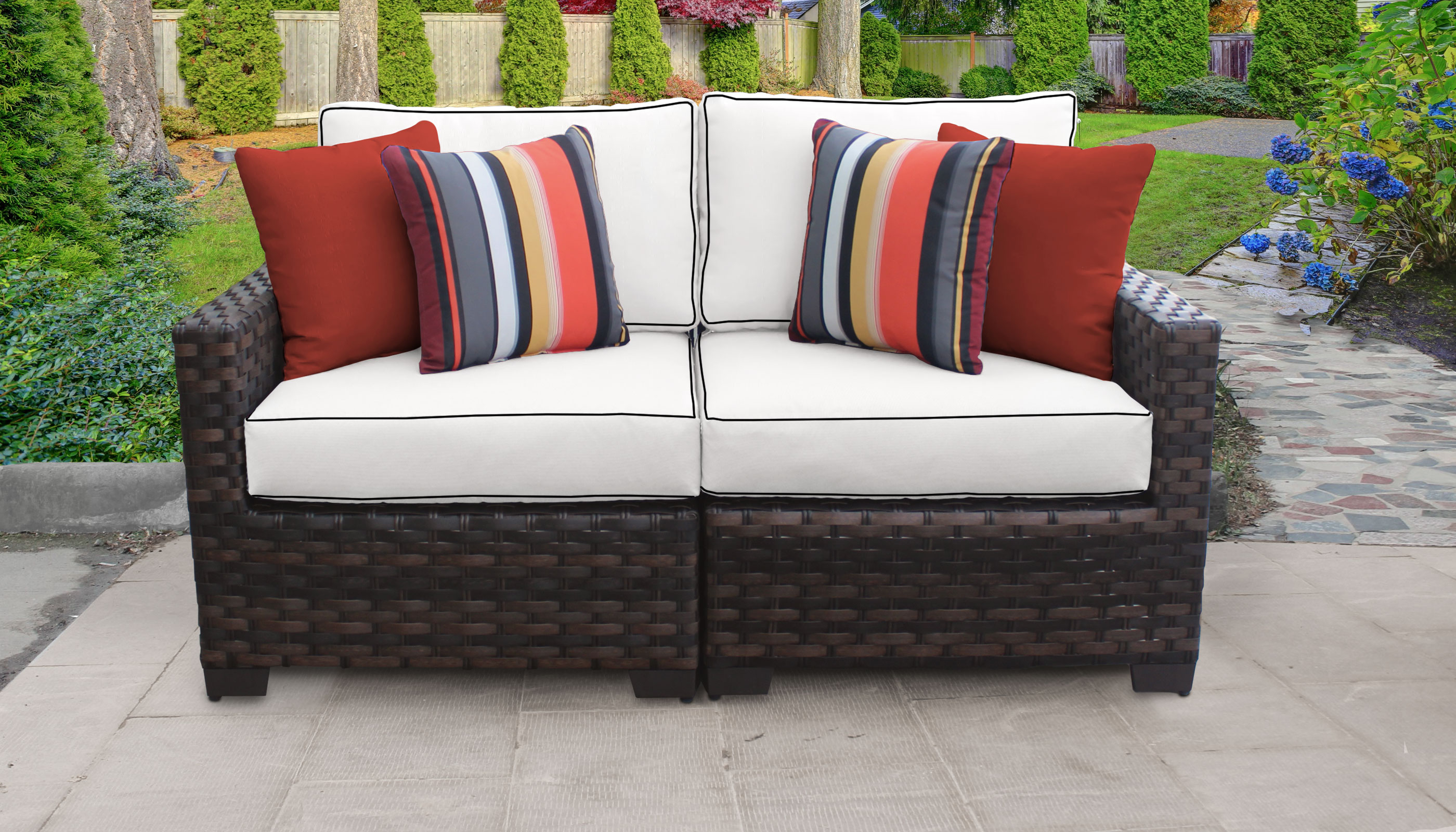 Latest River 2 Piece Outdoor Wicker Patio Furniture Set 02A For Oreland Patio Sofas With Cushions (View 6 of 20)
