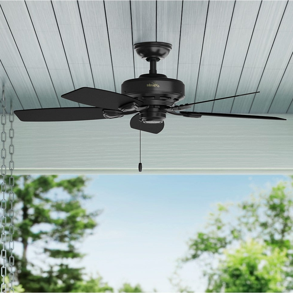 Latest Sea Wind 5 Blade Ceiling Fans Pertaining To Hunter Sea Wind Collection Matte Black 48 Inch 5 Matte Black Plastic Blades  Ceiling Fan (View 5 of 20)