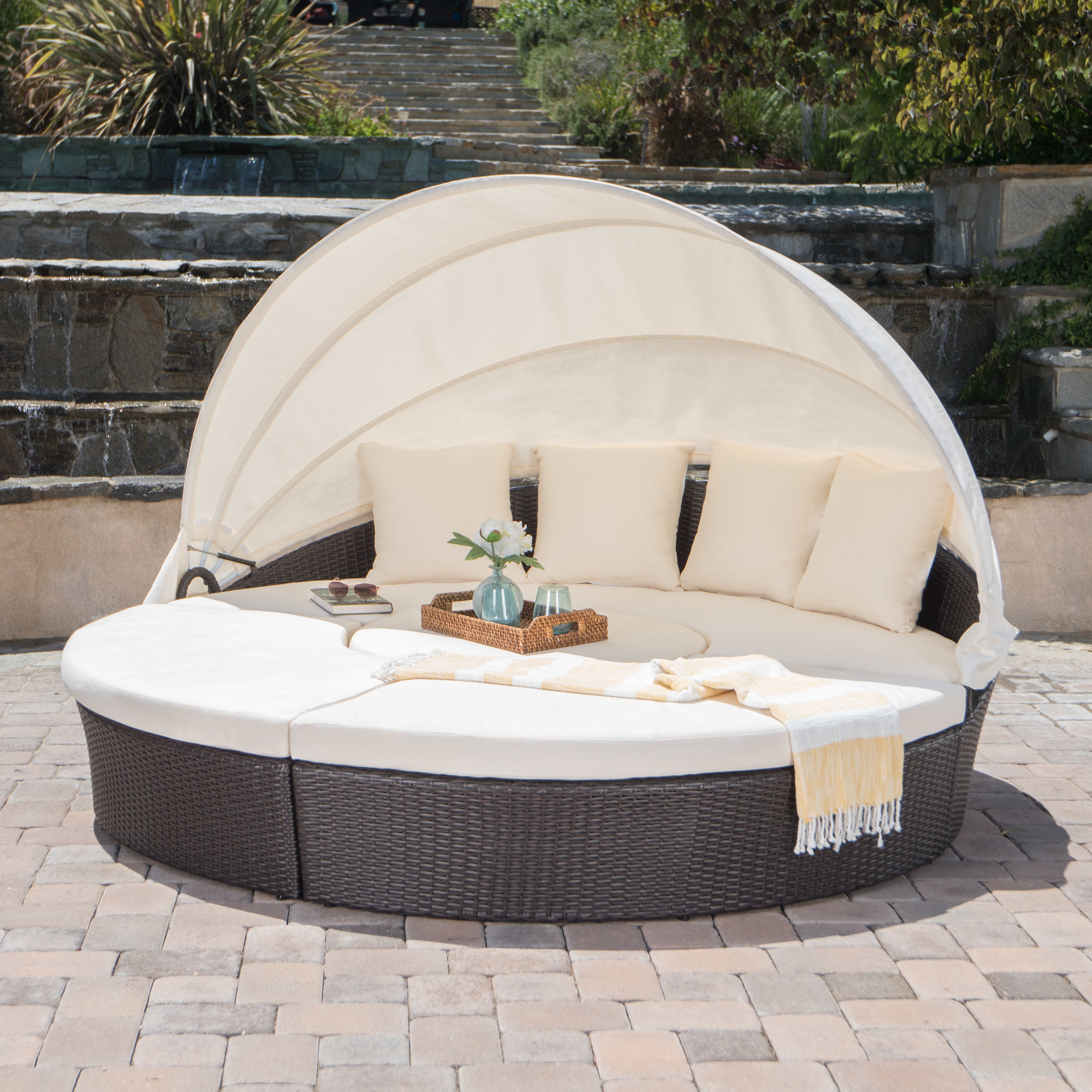 Lavina Outdoor Patio Daybeds With Cushions Inside Fashionable Antigua Patio Daybed With Cushions (View 7 of 20)