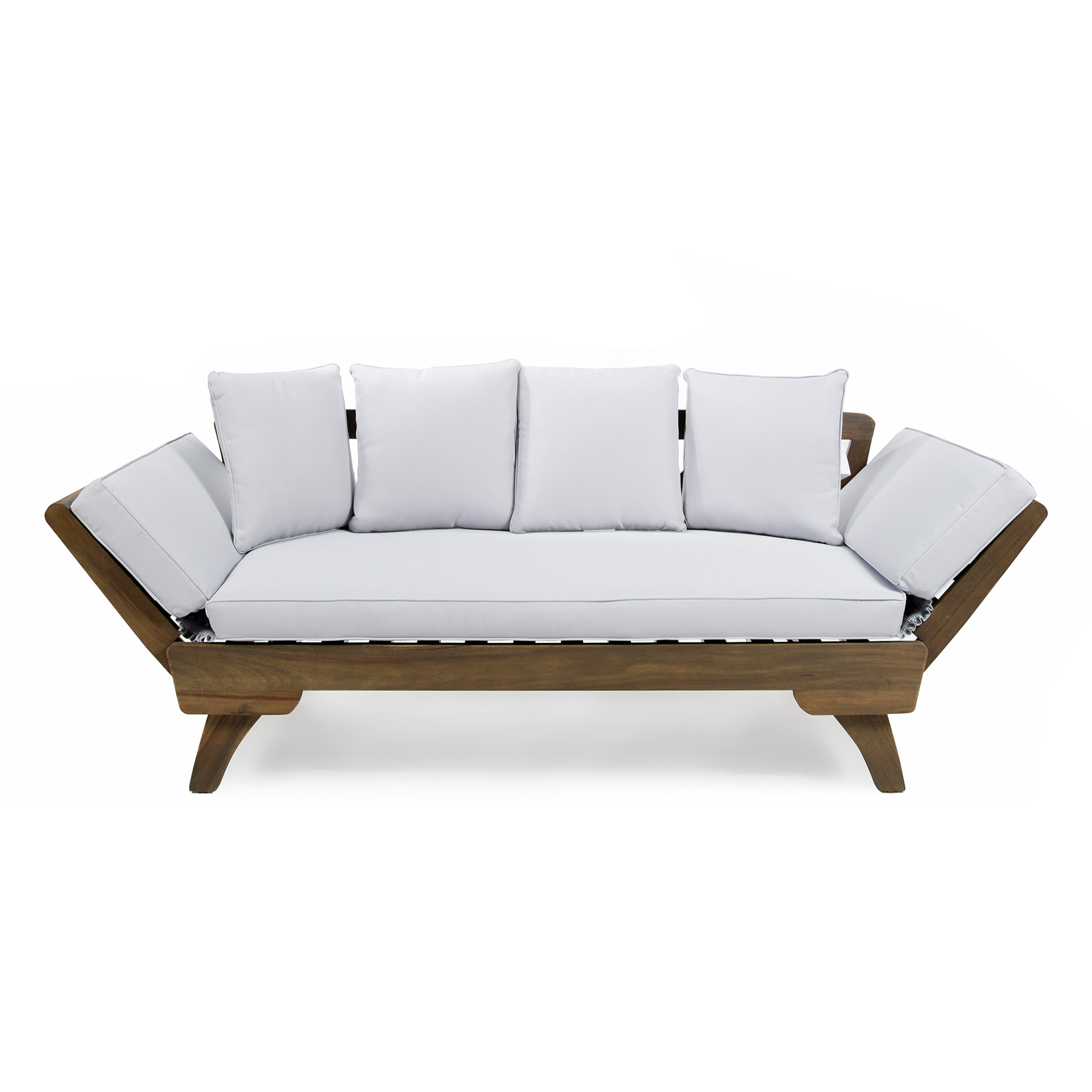 Lavina Outdoor Patio Daybeds With Cushions Regarding Most Popular Union Rustic Ellanti Teak Patio Daybed With Cushions (View 10 of 20)
