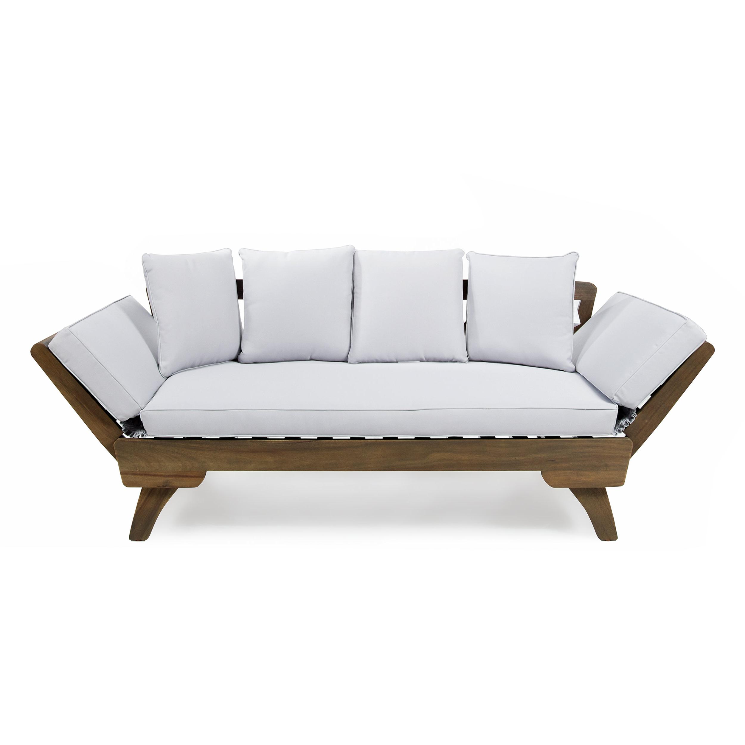 Lavina Outdoor Patio Daybeds With Cushions Regarding Most Popular Union Rustic Ellanti Teak Patio Daybed With Cushions (View 10 of 20)