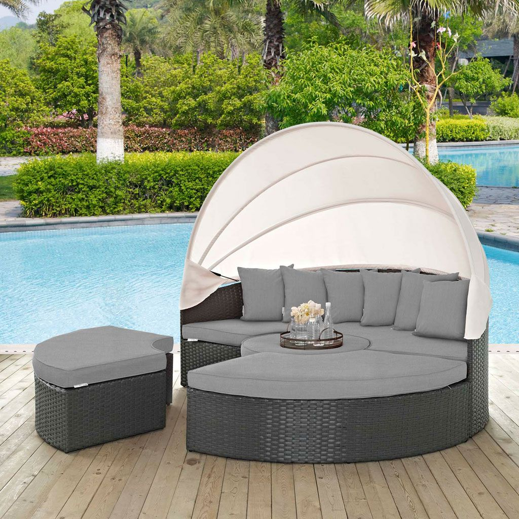 Leiston Round Patio Daybeds With Cushions Pertaining To Preferred Sojourn 4 Piece Outdoor Daybed Set With Canopy (Multiple (Gallery 20 of 20)