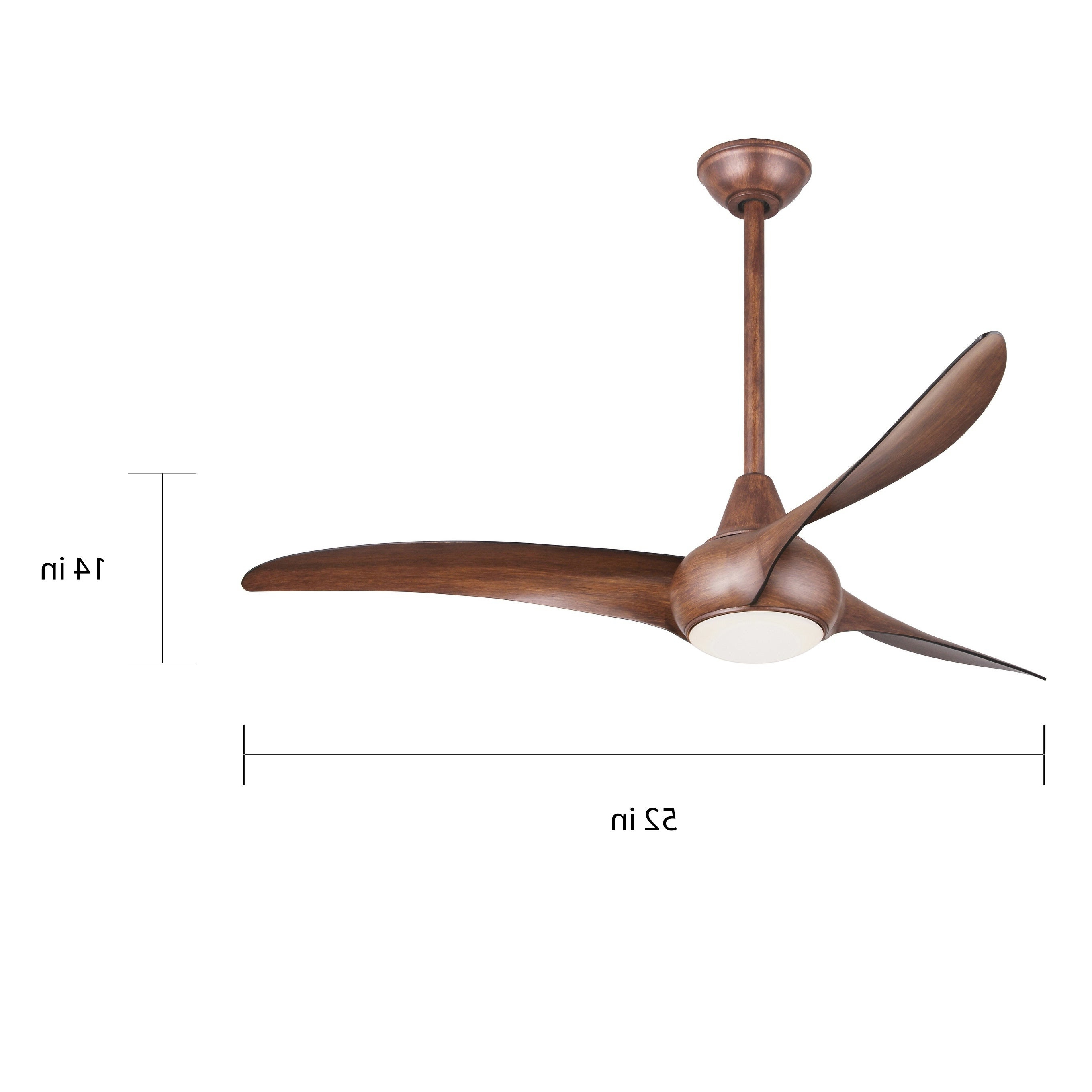 Light Wave 52 Inch Ceiling Fan In Distressed Koa Finish W/distressed Koa Blades For Recent Wave 3 Blade Led Ceiling Fans With Remote (View 19 of 20)