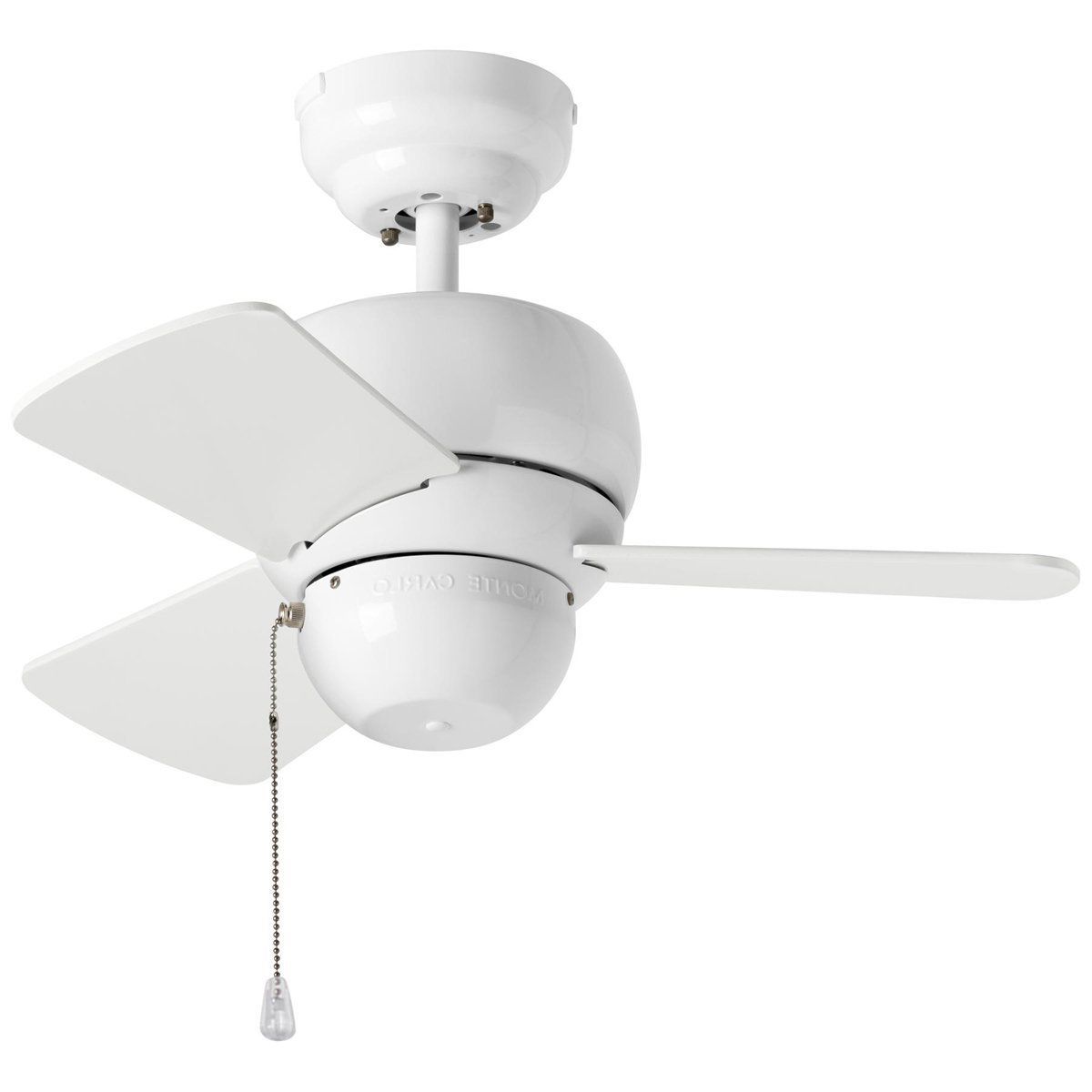 "Loft 3 Blade Ceiling Fans Within Newest Monte Carlo Fans 24"" Micro 24 Ceiling Fan – White (View 9 of 20)"