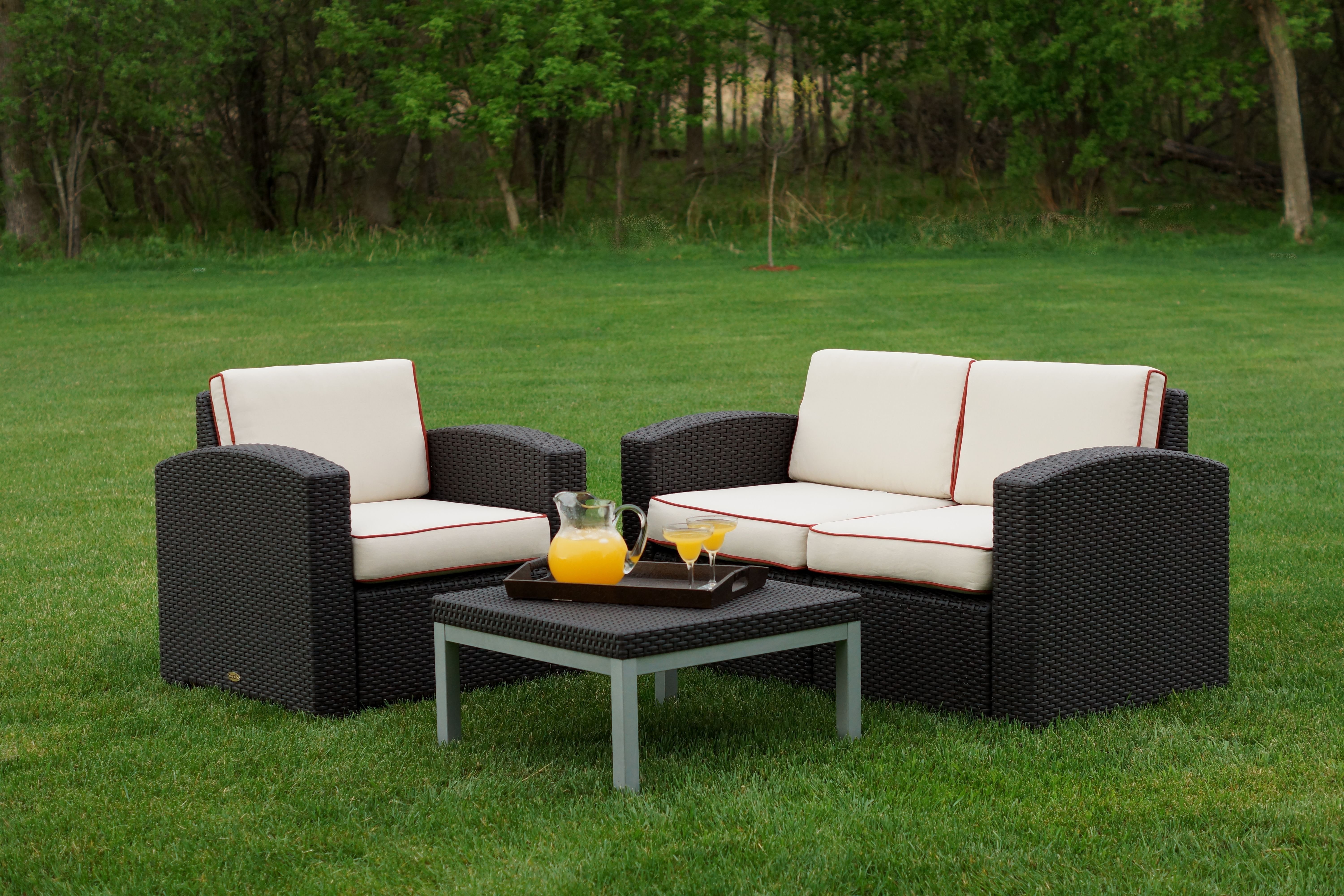 Loggins 3 Piece Sofa Set With Cushions In Preferred Loggins Patio Sofas With Cushions (Gallery 7 of 20)