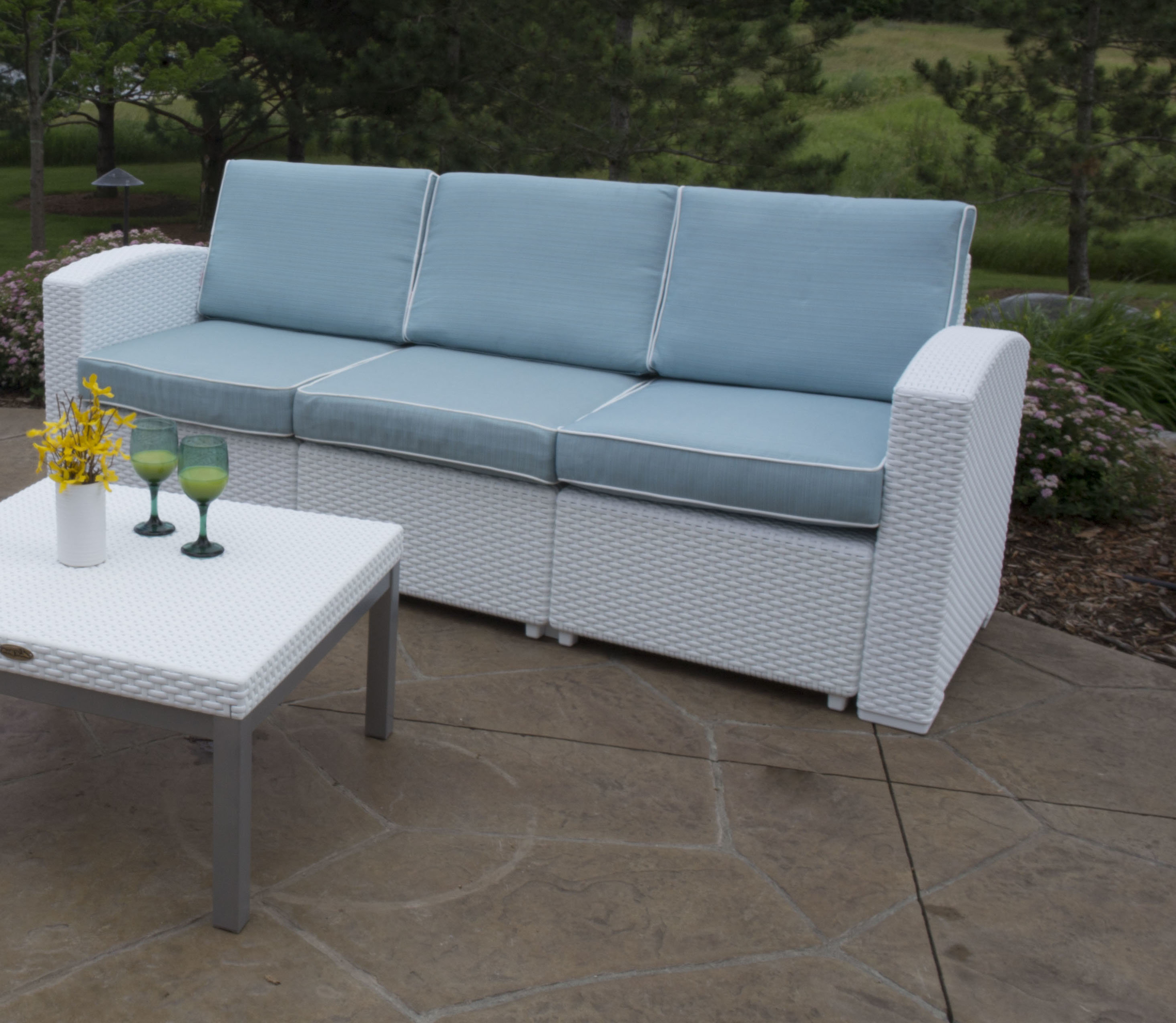 Loggins Patio Sofa With Cushions With Regard To Latest Stapleton Wicker Resin Patio Sofas With Cushions (View 7 of 20)