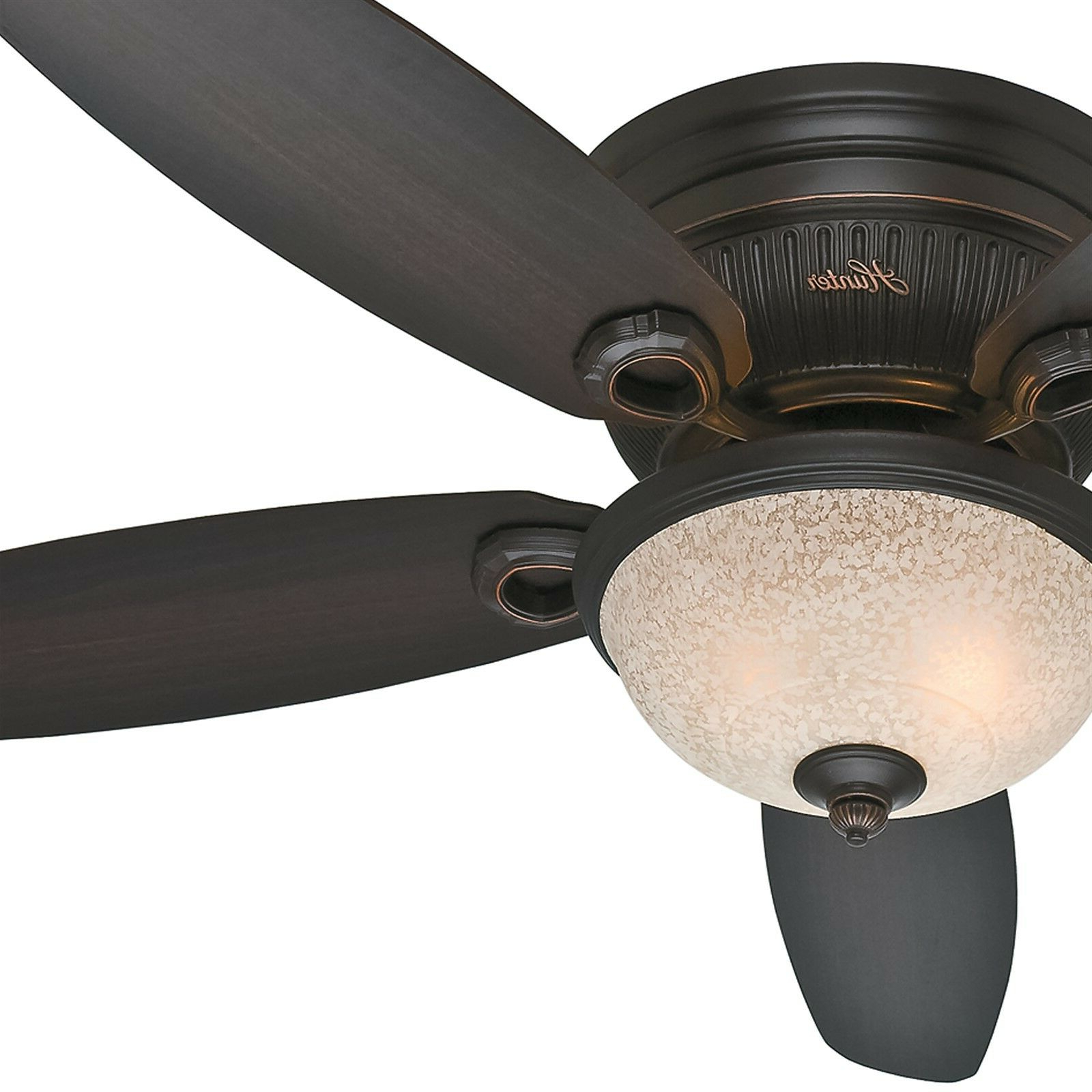 "Low Profile Iv 5 Blade Ceiling Fans Regarding Fashionable Details About Hunter 52"" Low Profile Ceiling Fan With Bowl Light Kit In Onyx Bengal, 5 Blade (View 9 of 20)"