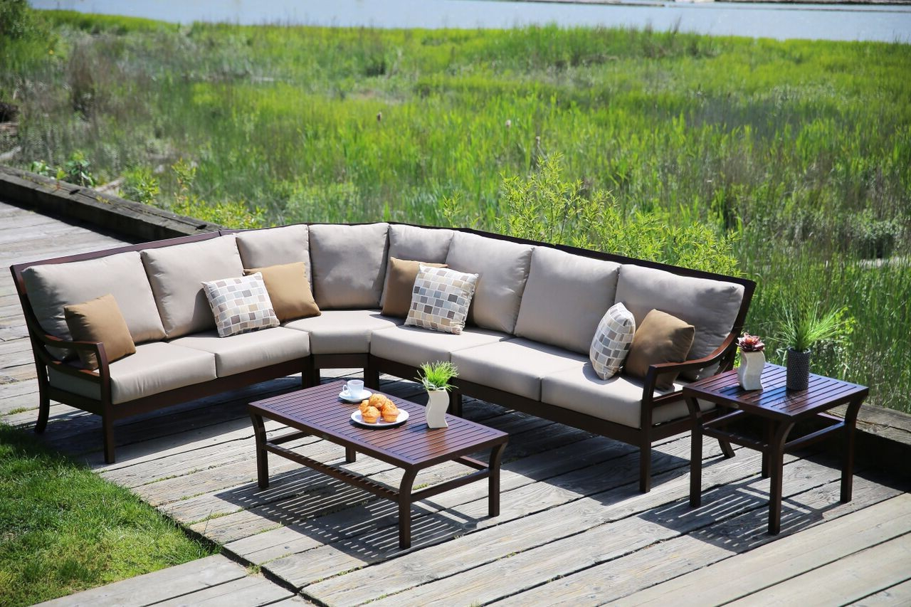 Madison 3 Piece Outdoor Sectional Within Fashionable Madison Avenue Patio Sectionals With Sunbrella Cushions (View 7 of 20)