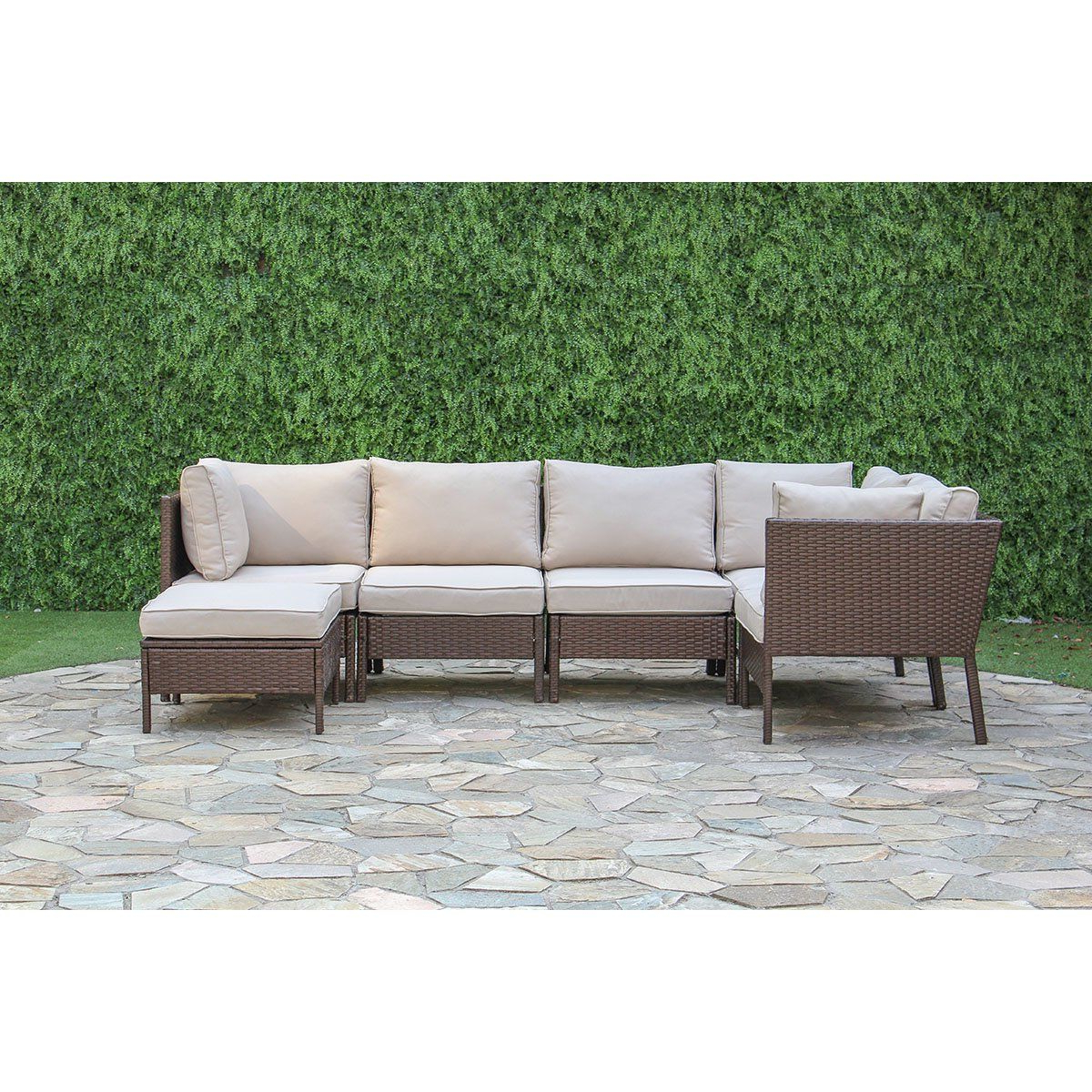 Madison Avenue Patio Sectionals With Sunbrella Cushions Pertaining To Famous Garrick 6 Piece Outdoor Sectional Deep Seating Group With (View 10 of 20)