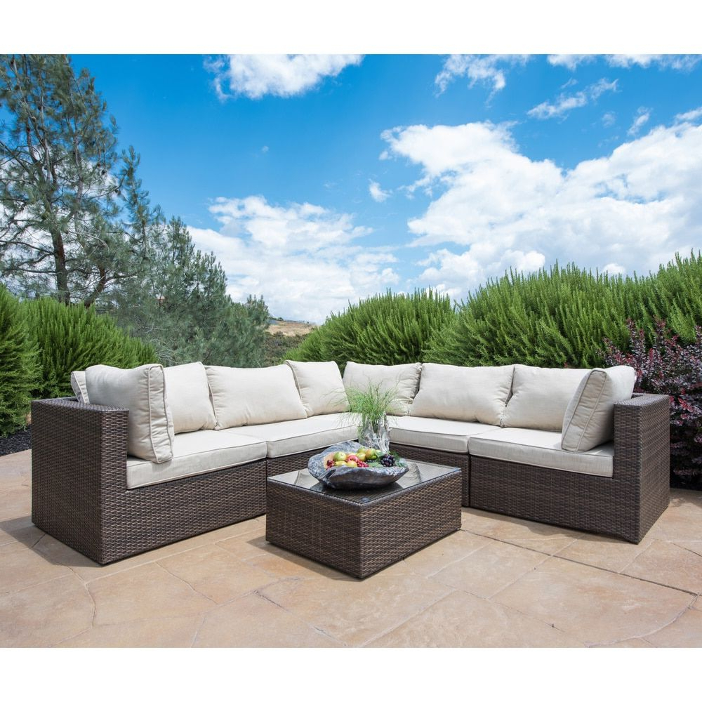 Madison Avenue Patio Sectionals With Sunbrella Cushions With Regard To Latest Corvus Tierney 6 Piece Outdoor Wicker Sectional Sofa Set (View 11 of 20)