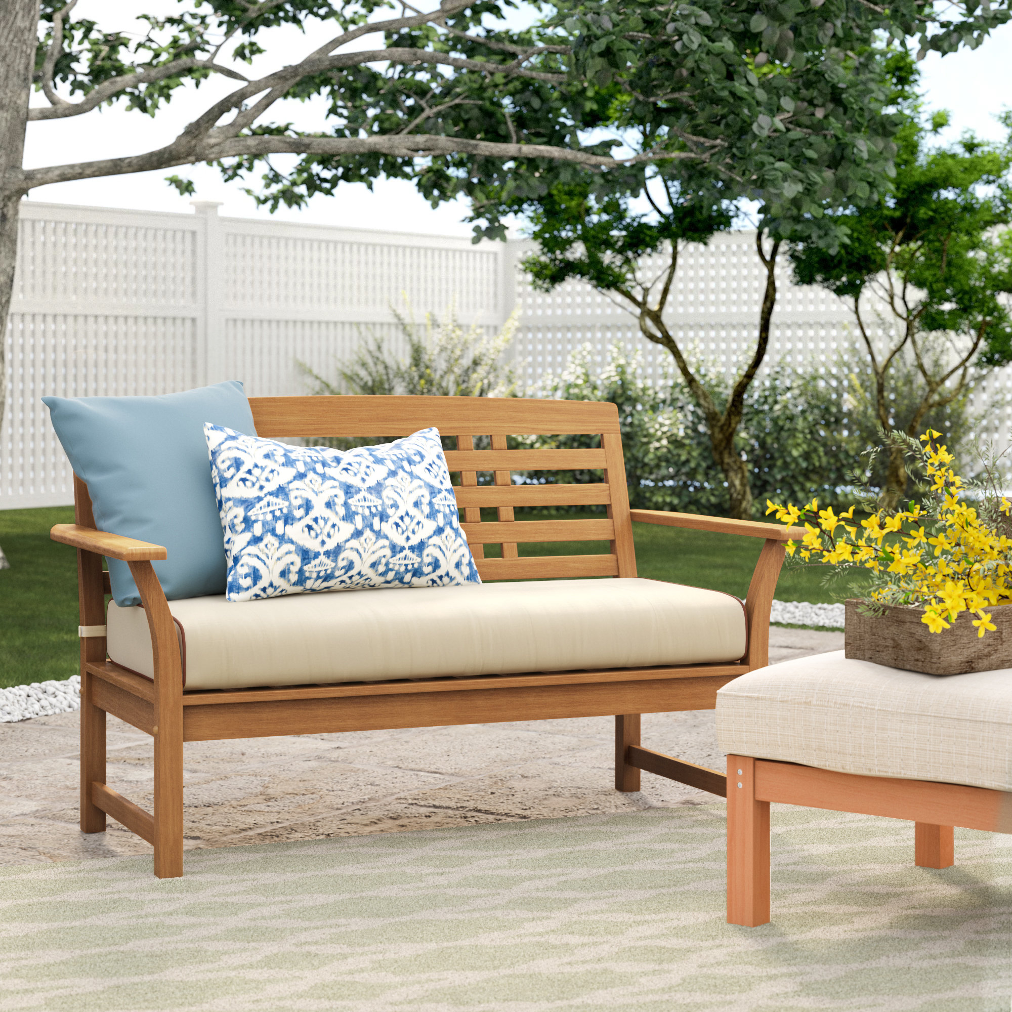 Mansfield Teak Loveseats With Cushion Regarding Popular Calila Teak Loveseat With Cushion (View 2 of 20)