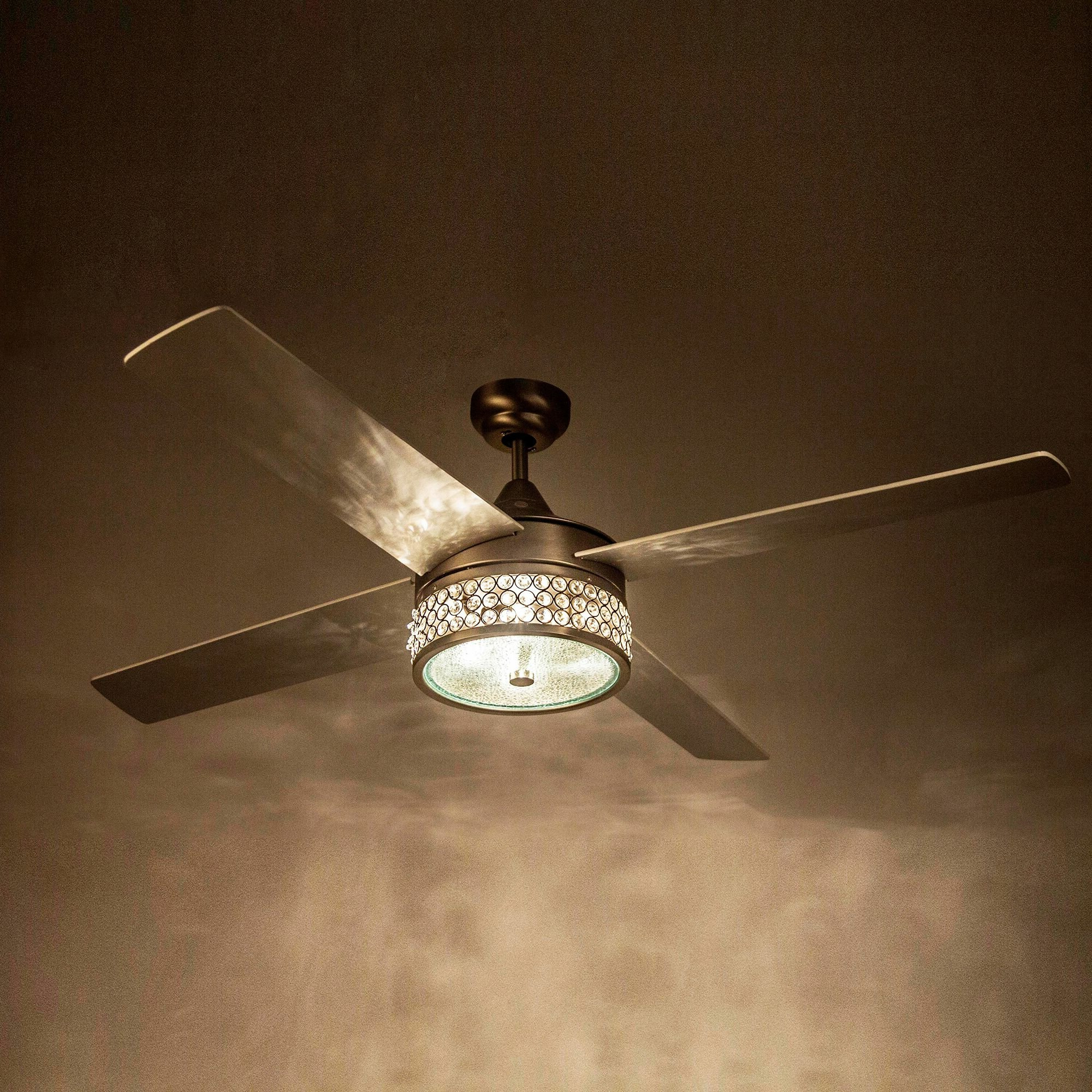 Marchand Crystal 4 Blade Ceiling Fan With Remote, Light Kit Included Pertaining To Trendy Cason 4 Blade Ceiling Fans (View 2 of 20)