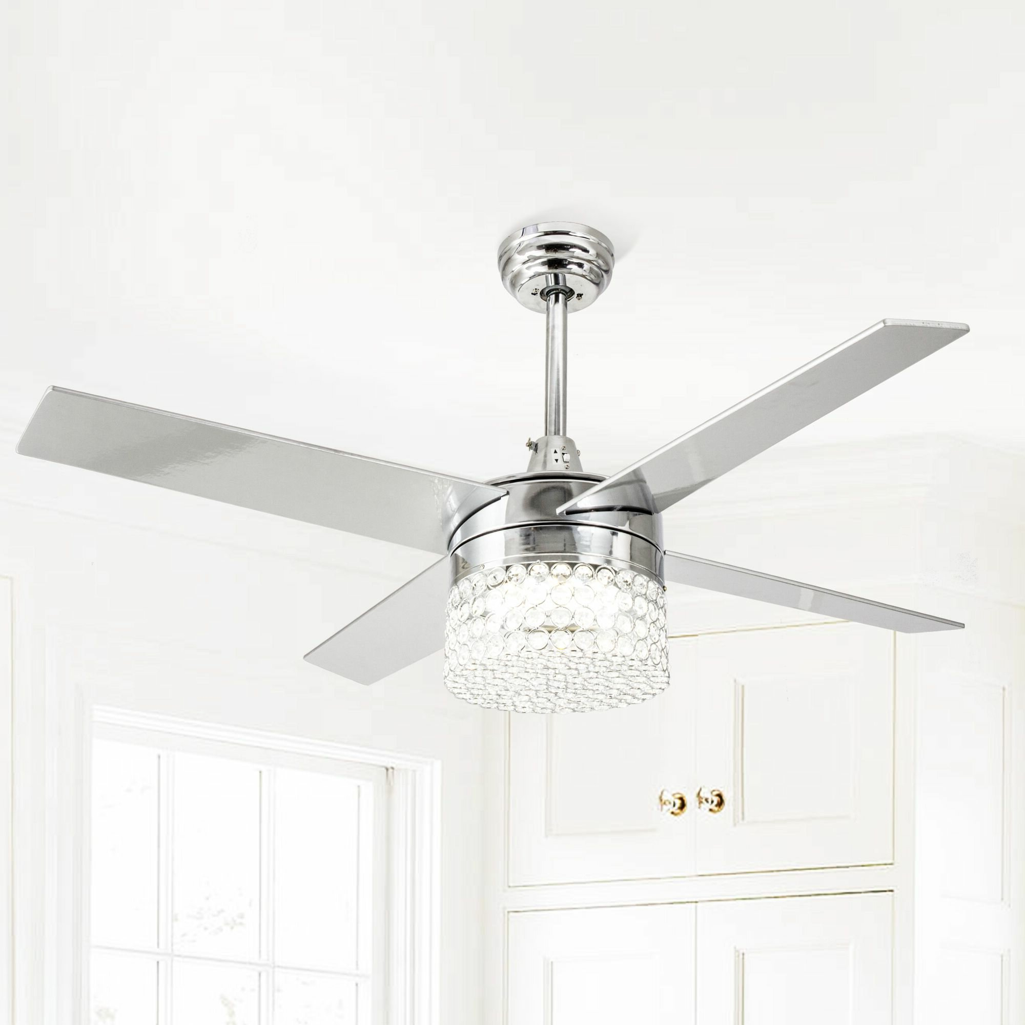 Marchand Crystal 4 Blade Led Ceiling Fan With Remote, Light Kit Included For Widely Used Tibuh Punched Metal Crystal 5 Blade Ceiling Fans With Remote (View 7 of 20)