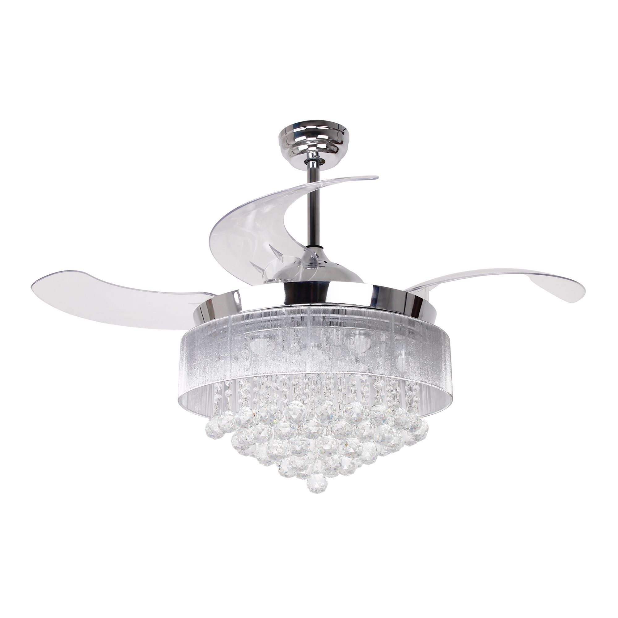 """Marcoux 5 Blade Ceiling Fans Pertaining To Most Current 46"""" Foldable Blades Led Ceiling Fan With Crystal, Chrome (View 18 of 20)"""