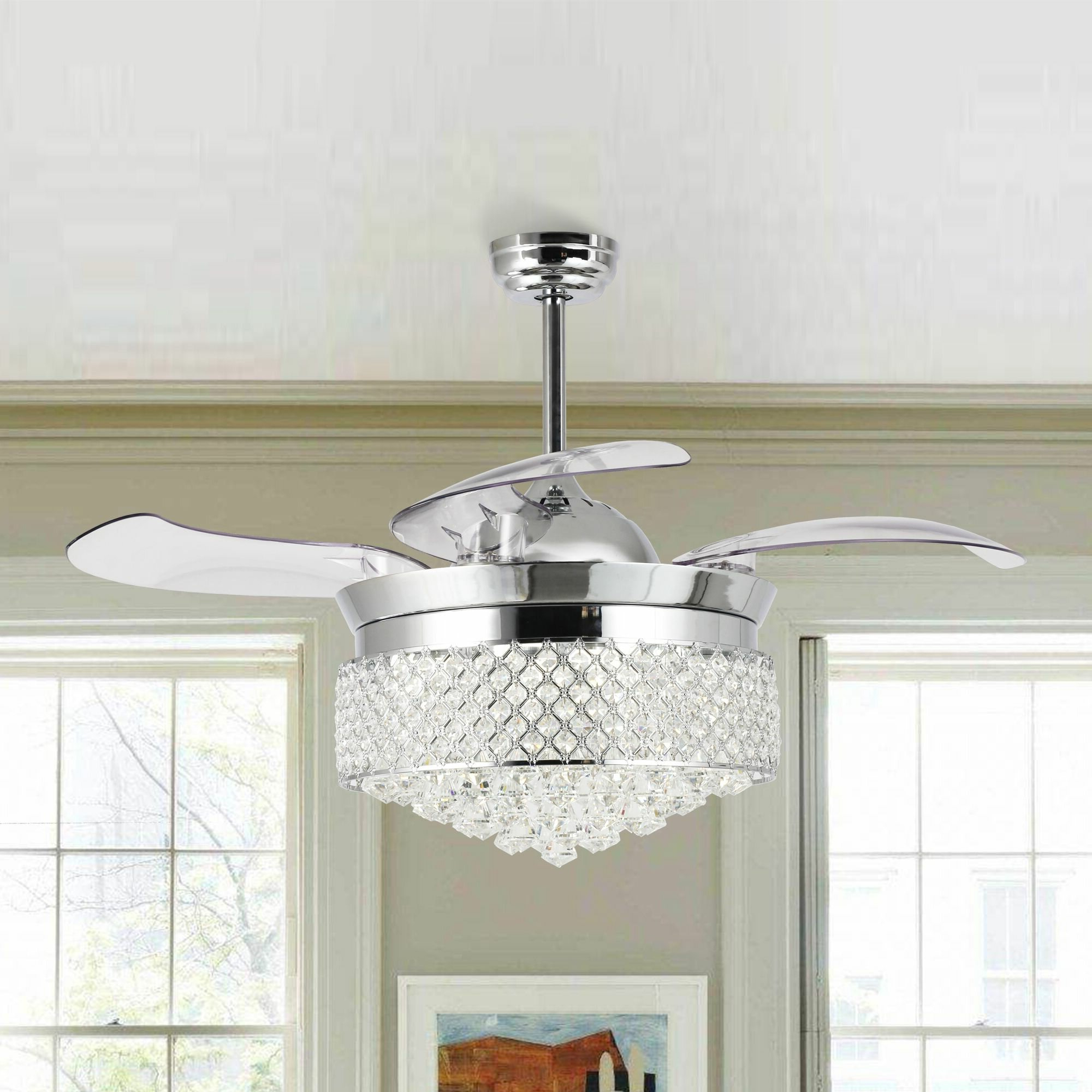 Marcoux Modern Crystal Foldable 4 Blade Led Ceiling Fan With Remote, Light  Kit Included Pertaining To Most Recently Released Servantes Retractable 4 Blade Ceiling Fans With Remote (View 10 of 20)