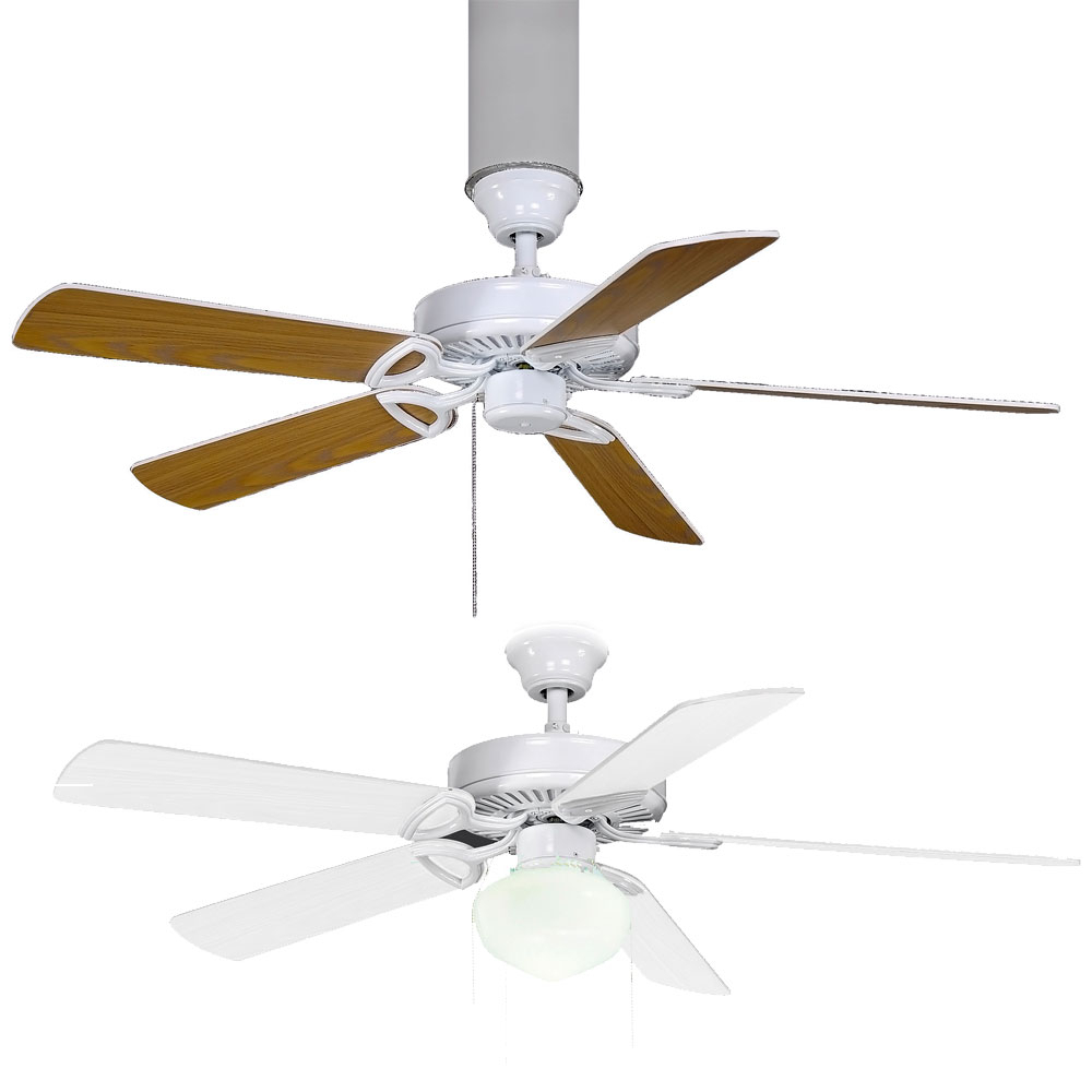 "Matthews Am Usa America Gloss White Fluorescent 52"" 5 Blade Builder Paddle  Ceiling Fan In Most Up To Date Builder 5 Blade Ceiling Fans (View 15 of 20)"