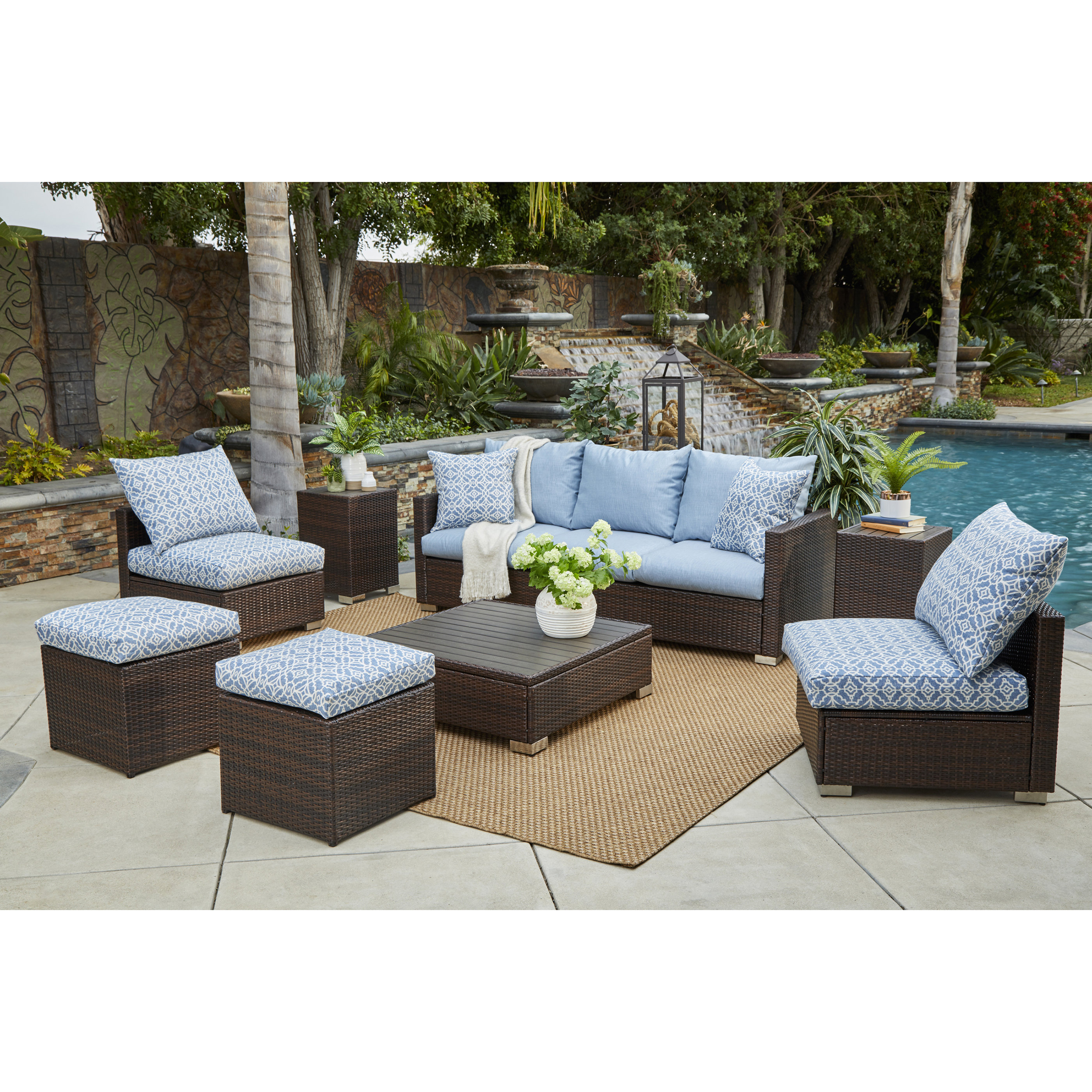 Mcmanis 8 Piece Rattan Sofa Seating Group With Sunbrella Cushions Regarding Most Popular Mcmanis Patio Sofas With Cushion (View 9 of 20)
