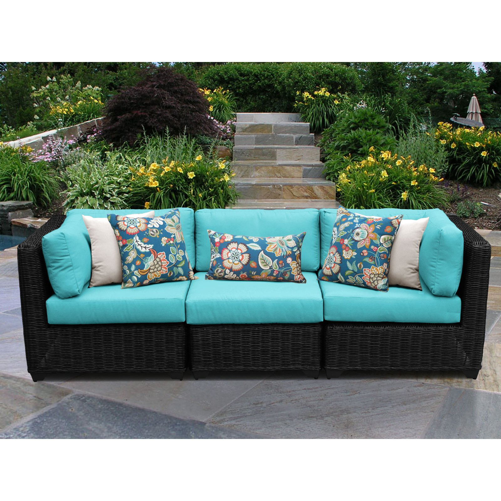 Mcmanis Patio Sofas With Cushion Regarding Famous Tk Classics Venice 3 Piece Outdoor Wicker Patio Conversation (View 20 of 20)