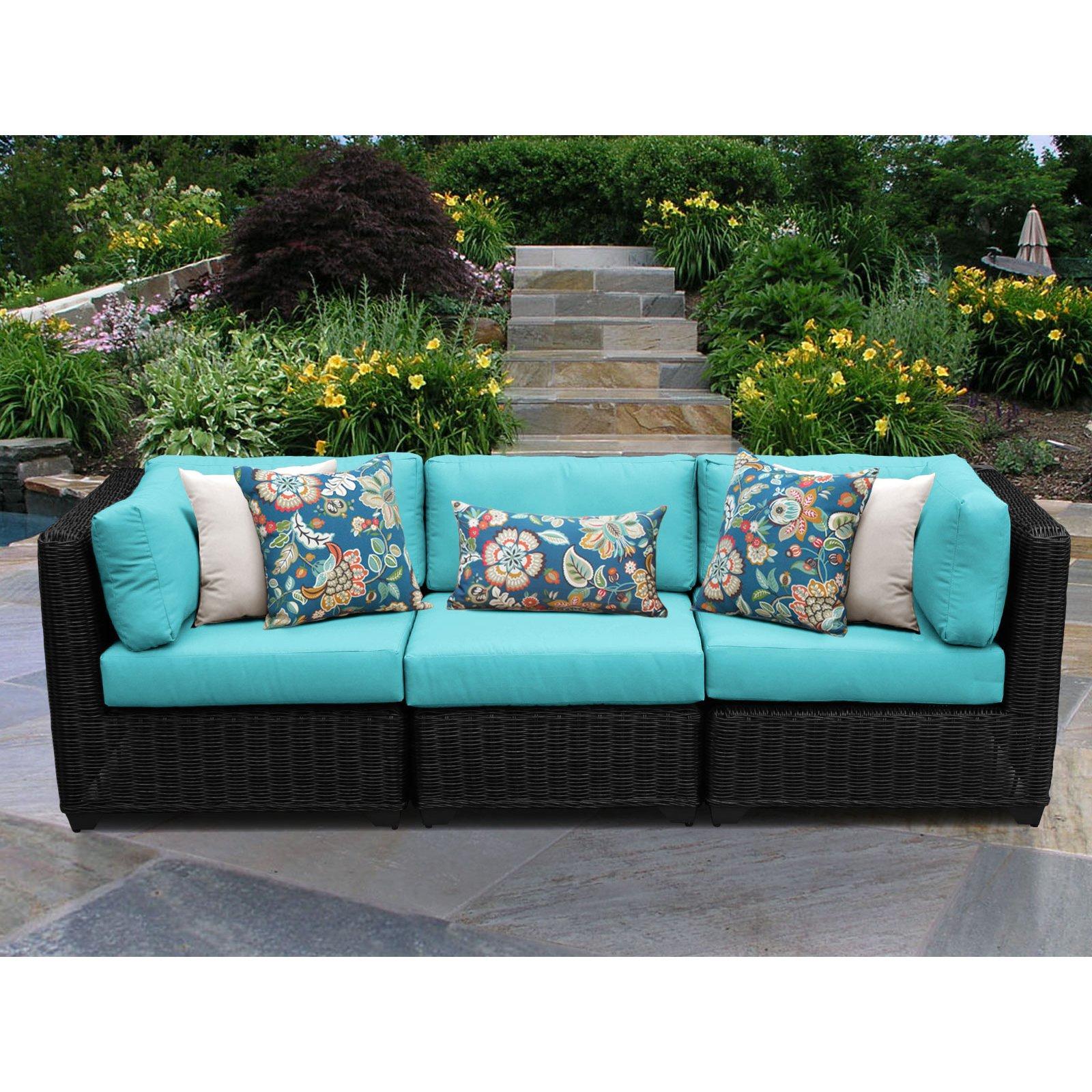Mcmanis Patio Sofas With Cushion Regarding Famous Tk Classics Venice 3 Piece Outdoor Wicker Patio Conversation (View 13 of 20)