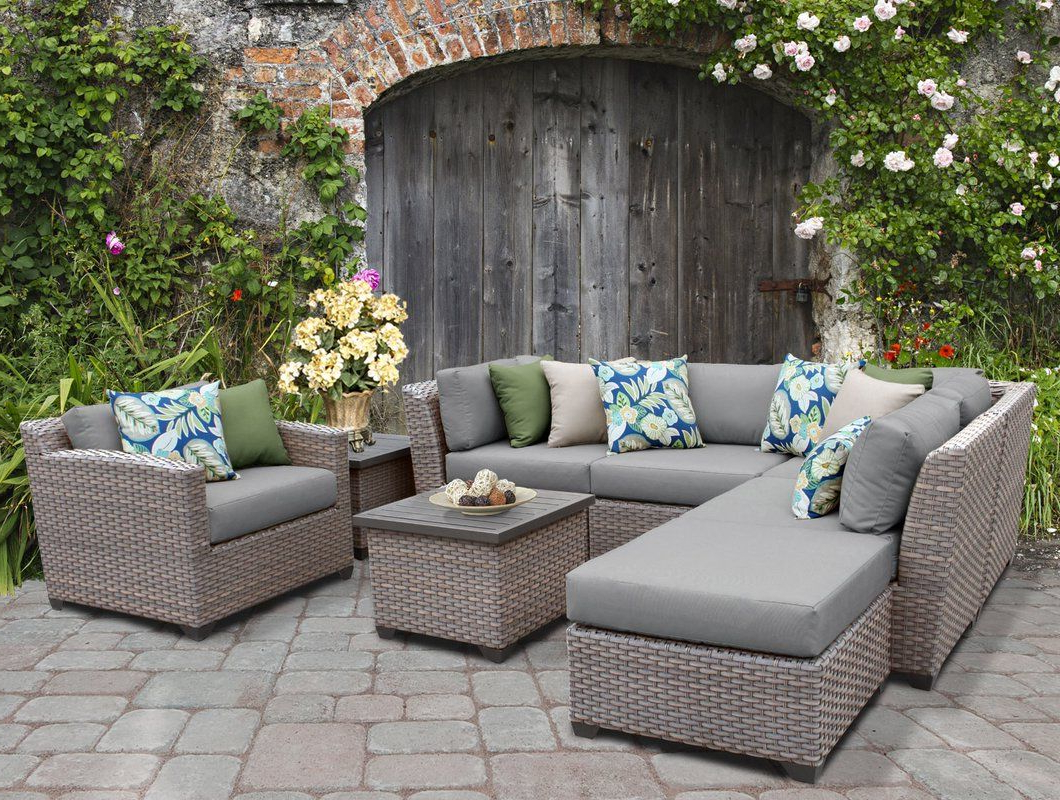 Meeks Patio Sofas With Cushions Regarding 2019 Meeks 8 Piece Rattan Sectional Seating Group With Cushions (View 12 of 20)