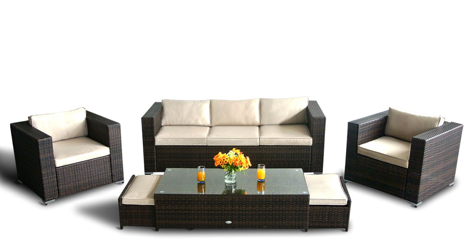 Meeks Patio Sofas With Cushions Throughout Most Current Patio Furniture Couch And Chairs (View 13 of 20)
